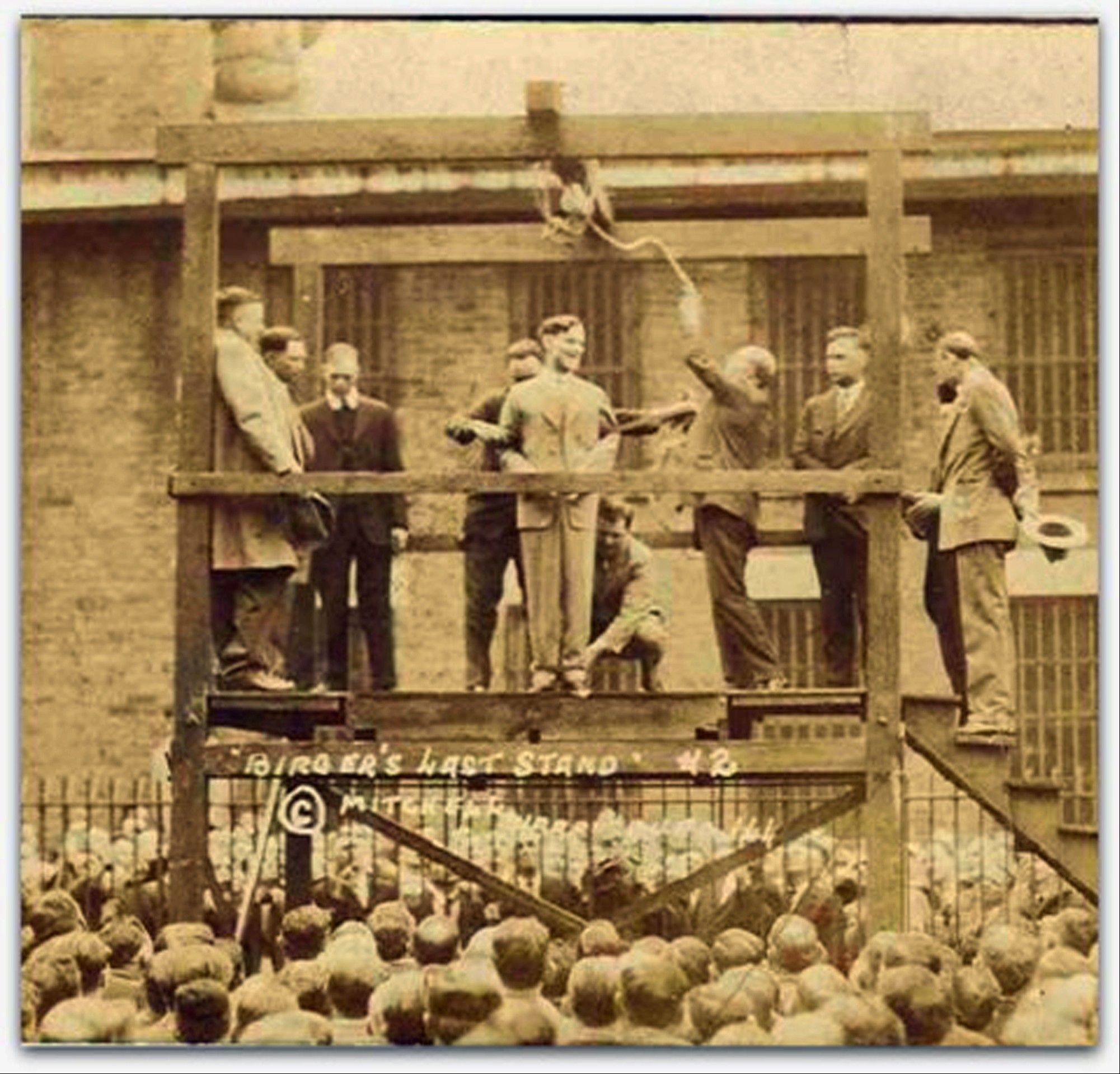 Bootlegging gangster Charlie Birger, center, stands on the gallows just before his public hanging in downstate Benton. Birger was the last person to be publicly hanged in Illinois.