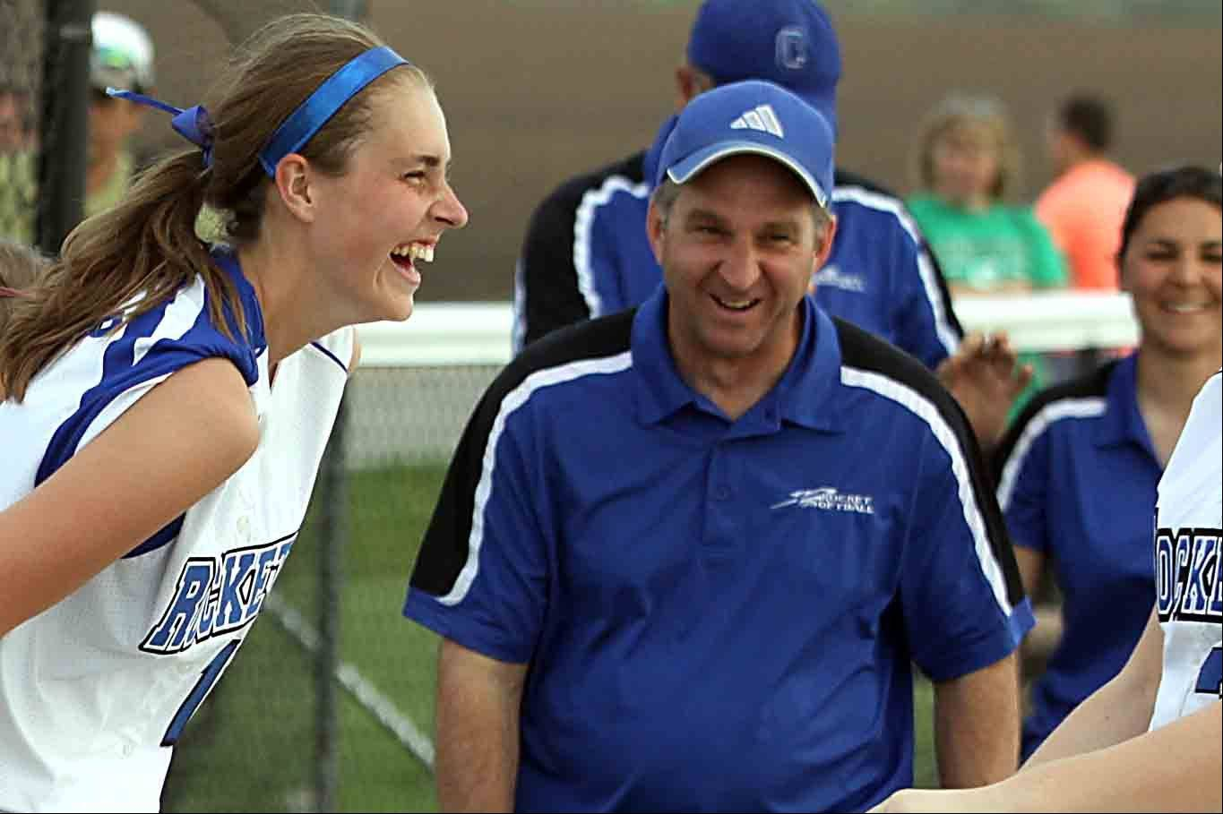 Burlington Central's Rebecca Roscher, left, and head coach Wade Maisto are all smiles after a victory over Hampshire Wednesday at Burlington.