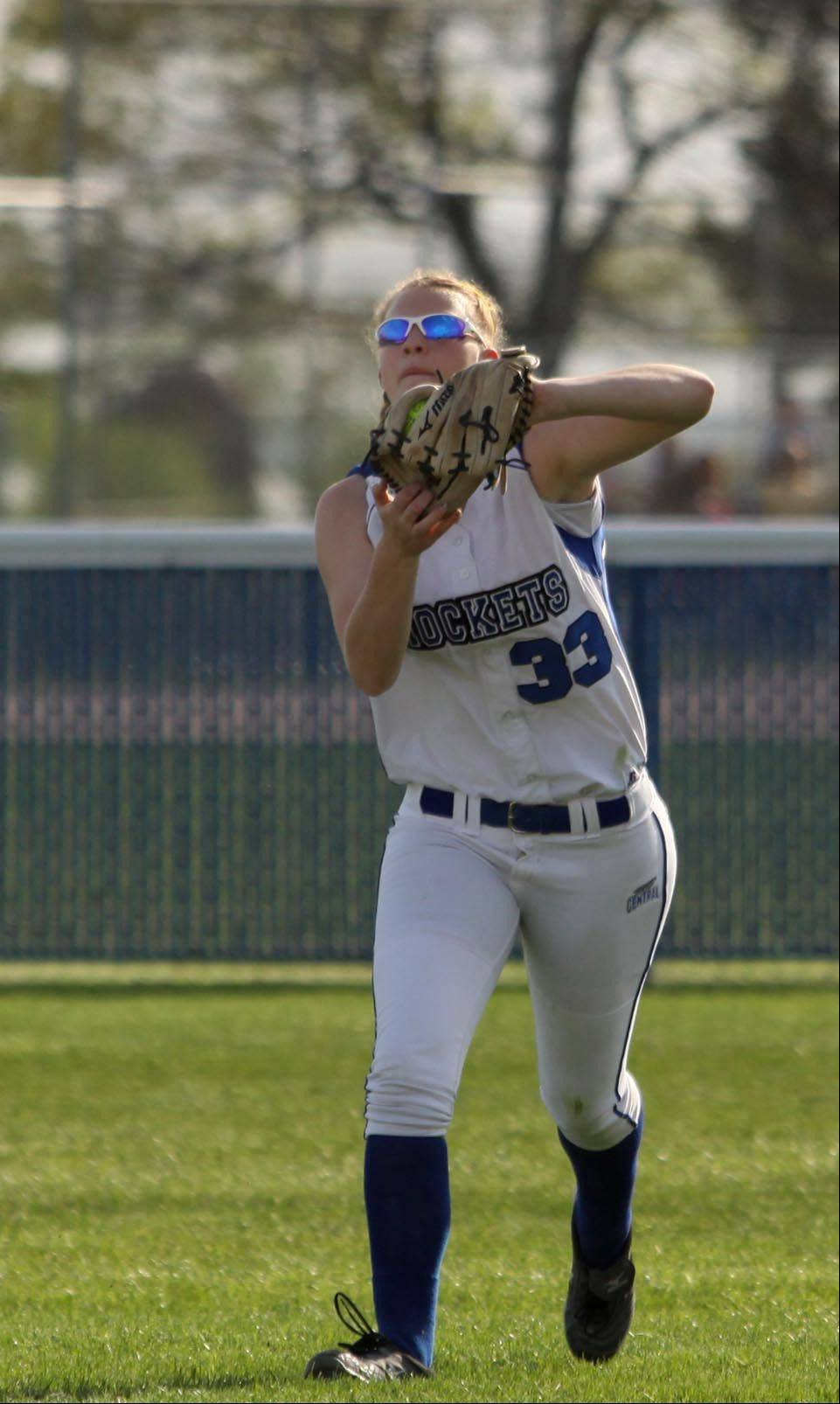 Burlington Central right fielder Becca Gerke snags a fly ball for an out against Hampshire Wednesday at Burlington.