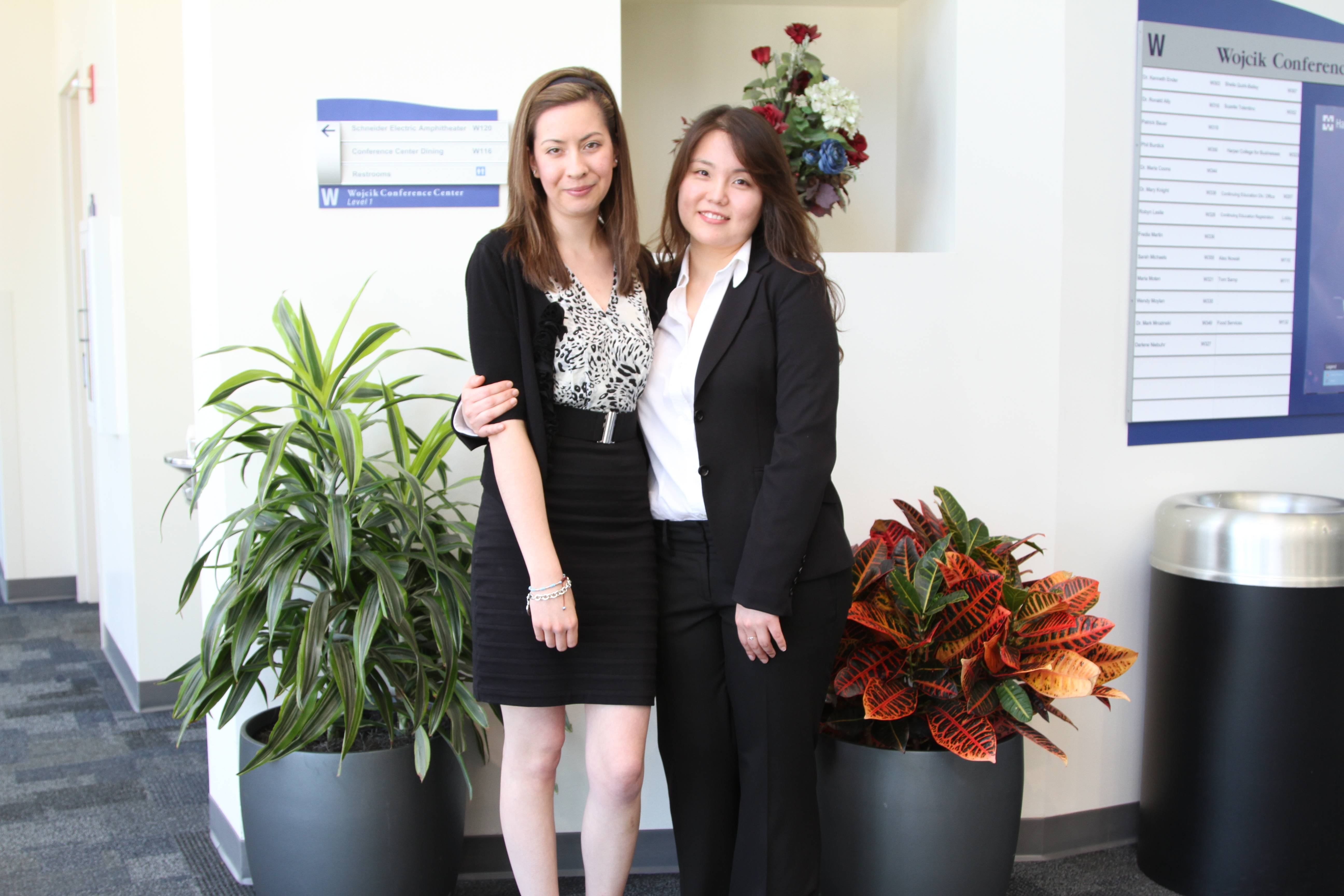 Michelle Kreutner (left) and Myra Chung are the recent recipients of a scholarship from Fashion Group International, the nonprofit organization for the fashion, apparel, beauty and home industries. Both students plan to use the scholarship to further develop their designs.
