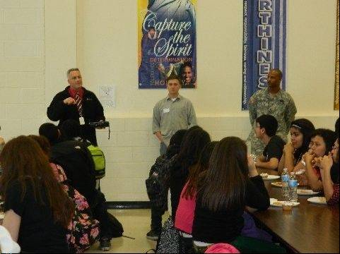 Members of the Round Lake Area Exchange Club and soldiers serving in the United States Army visited with students from Round Lake Unit District 116 schools in celebration of the Hometown Hero project.