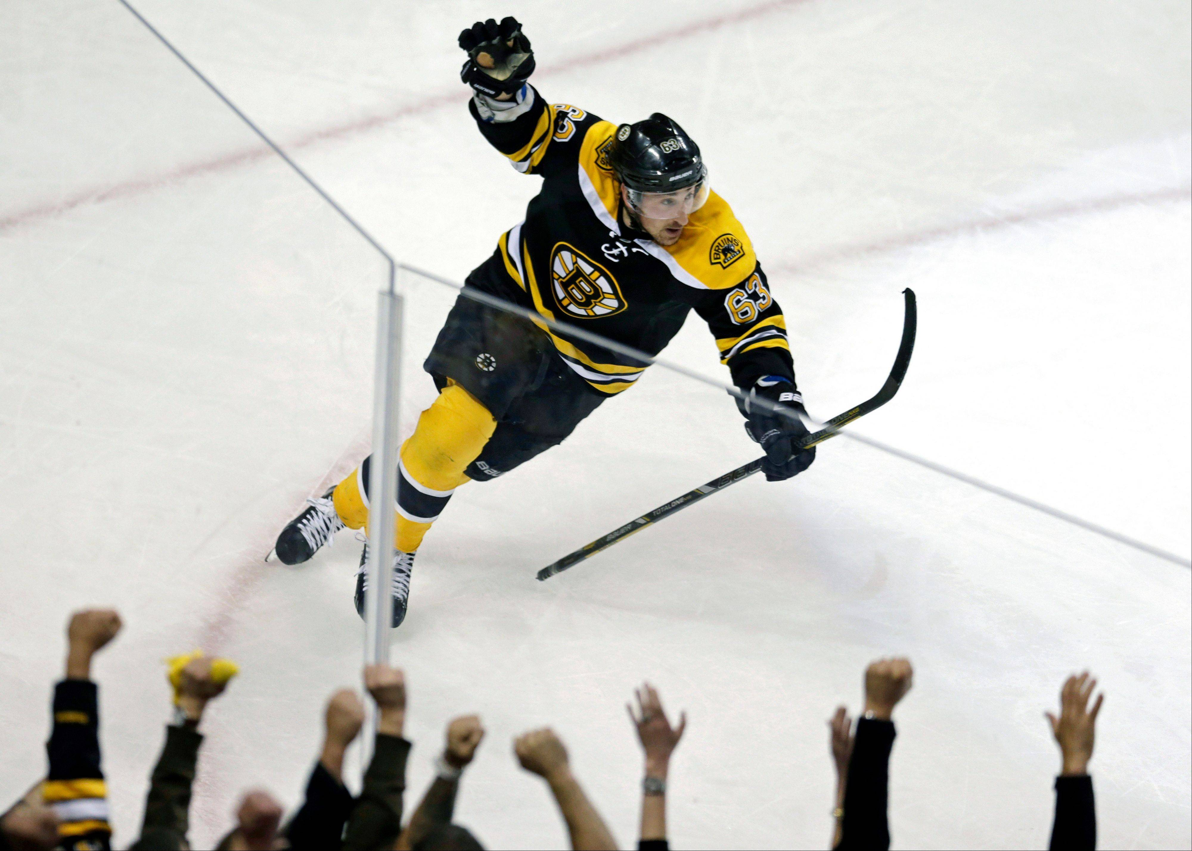 Boston Bruins left wing Brad Marchand celebrates following his game-winning goal against New York Rangers goalie Henrik Lundqvist during overtime in Game 1 of an NHL hockey playoffs Eastern Conference semifinal game in Boston, Thursday, May 16, 2013. The Bruins won 3-2. (AP Photo/Charles Krupa)