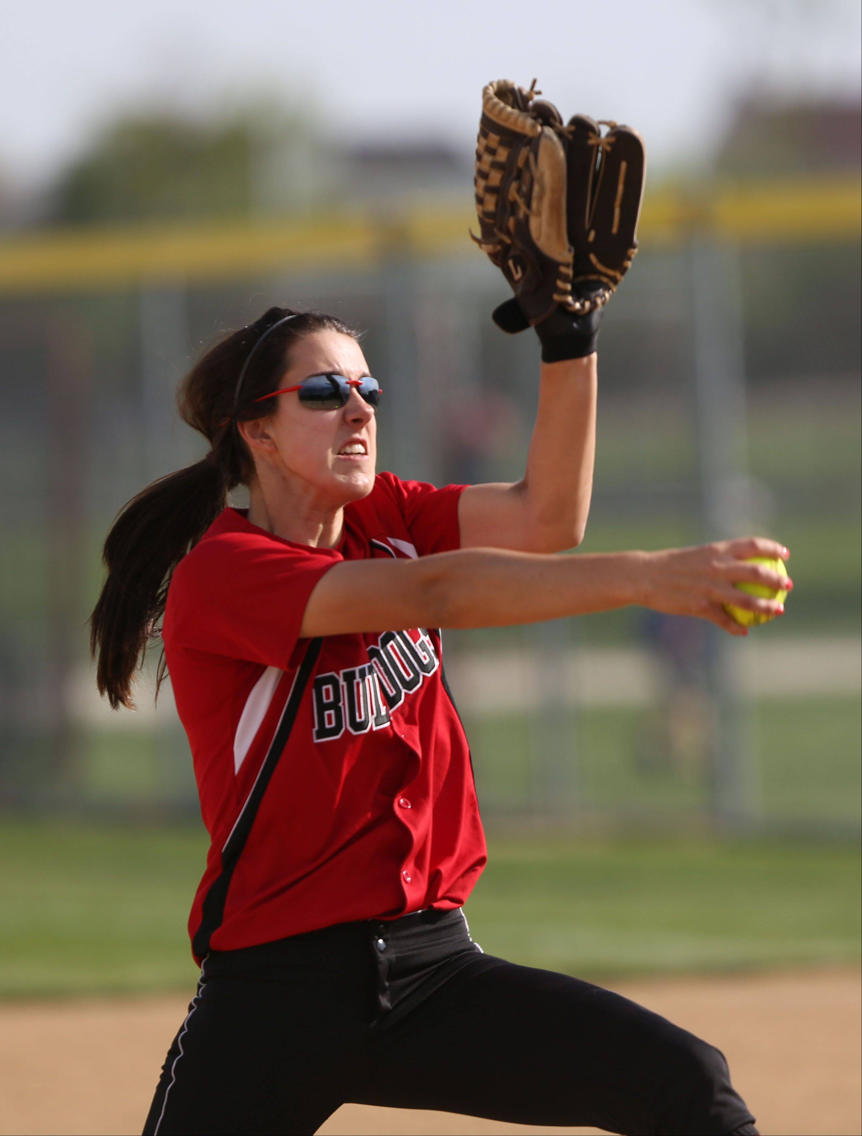 Grant pitcher Caitlyn Moran winds up during the NSC championship game Wednesday at Zion-Benton.