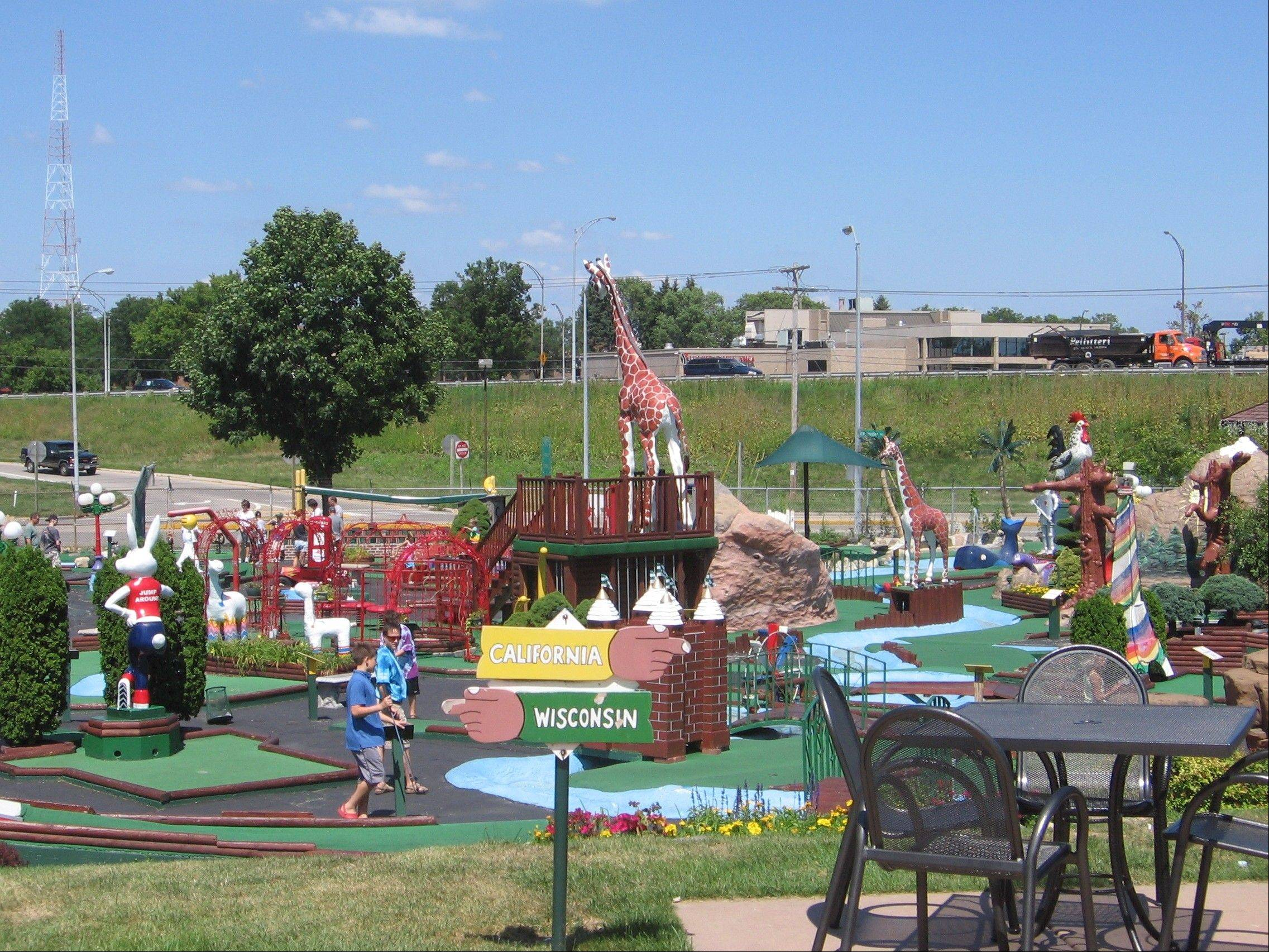 Vitense Golfland is known for massive, colorful outdoor mini-golf and driving ranges, but also features batting cages and an indoor mini-golf course with each hole depicting a different Madison site.