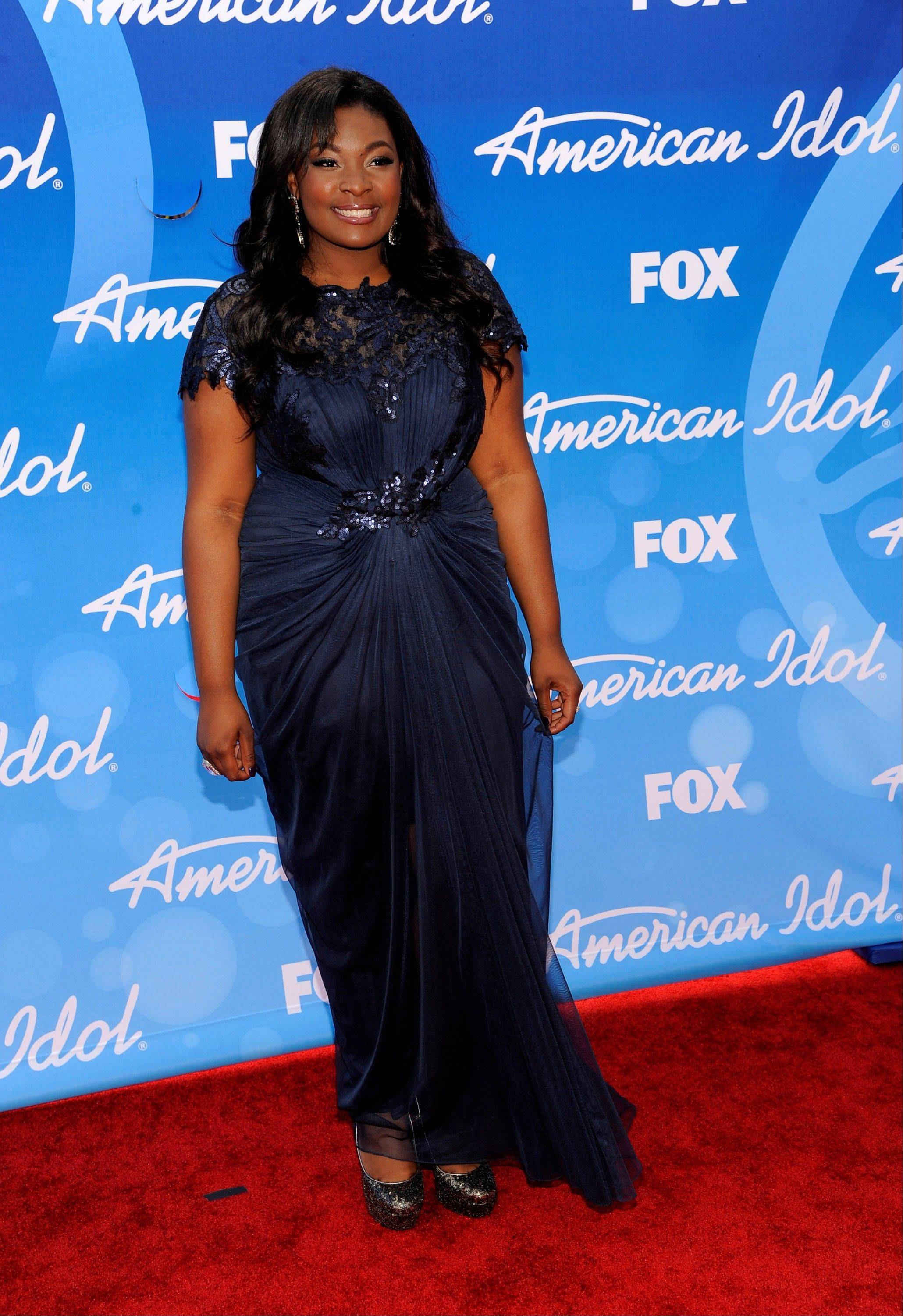 "Candice Glover arrives at the ""American Idol"" finale Thursday at the Nokia Theatre at L.A. Live in Los Angeles."