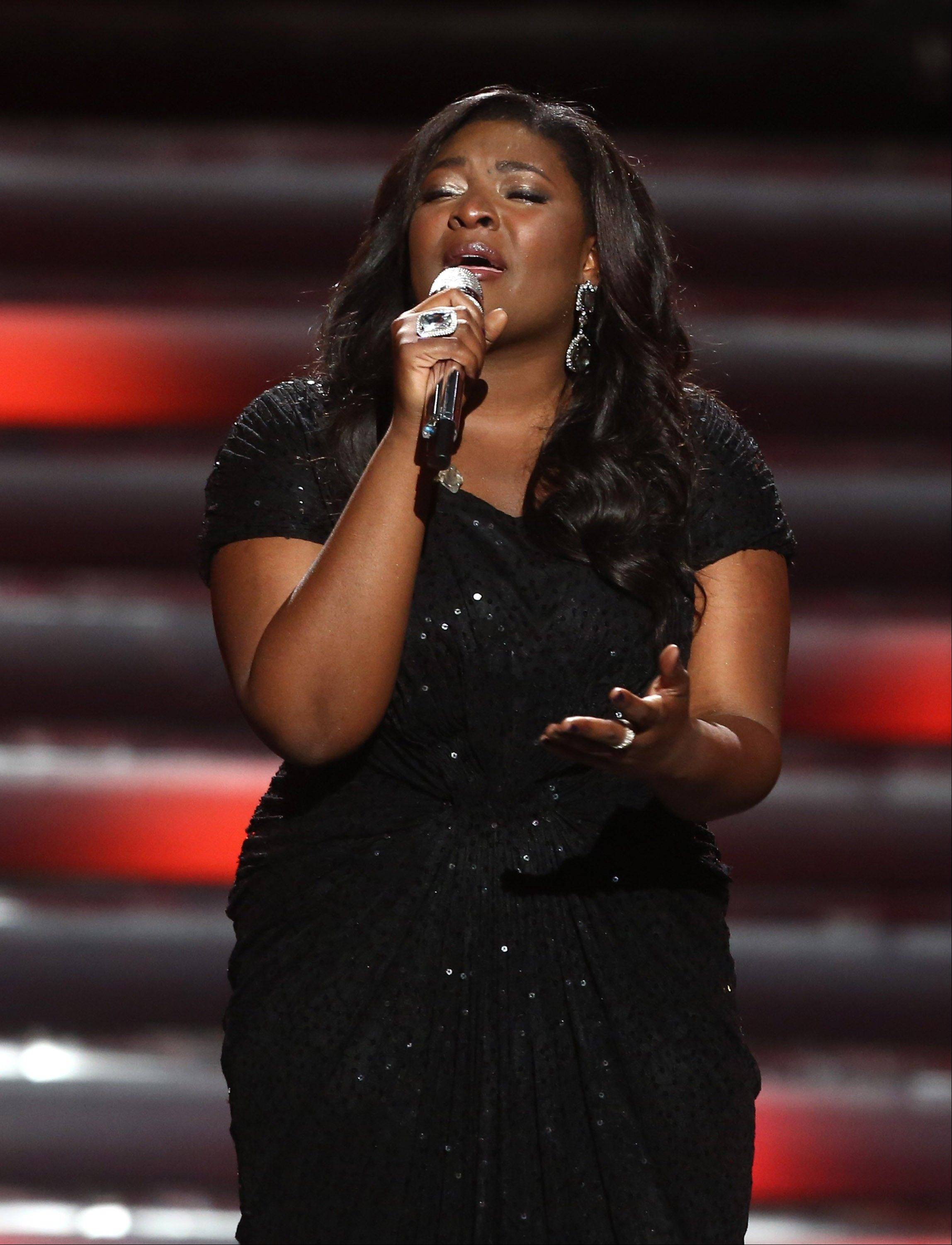 "Winner Candice Glover performs at the ""American Idol"" finale Thursday at the Nokia Theatre at L.A. Live in Los Angeles."