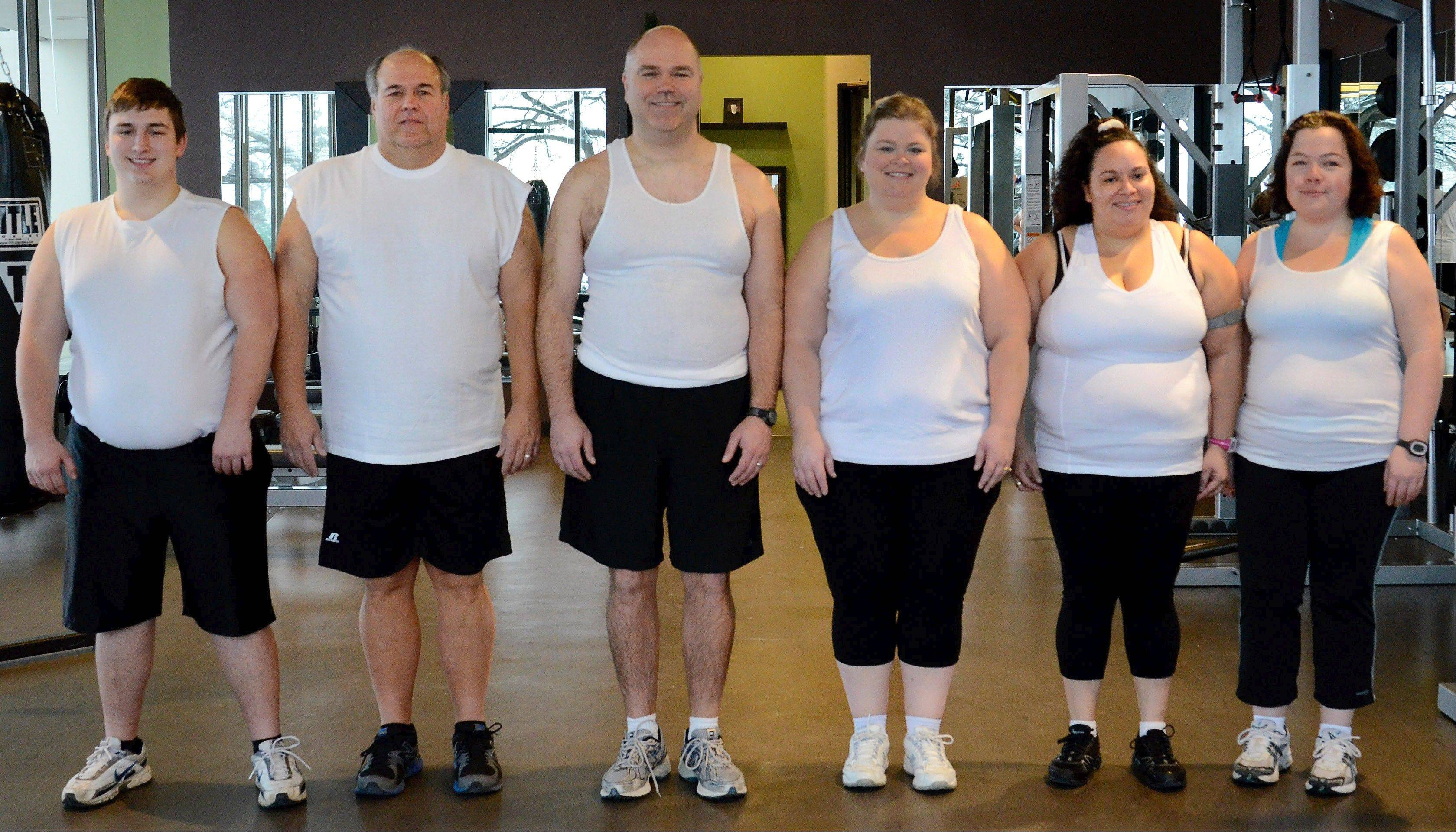 2013 Fittest Loser Challenge participants, before starting their journey, from left, Joe Gundling, Mike Paulo, Greg Moehrlin, Megan McCarthy-Cook, Marianne Costales-Roman and Karen Castillo.