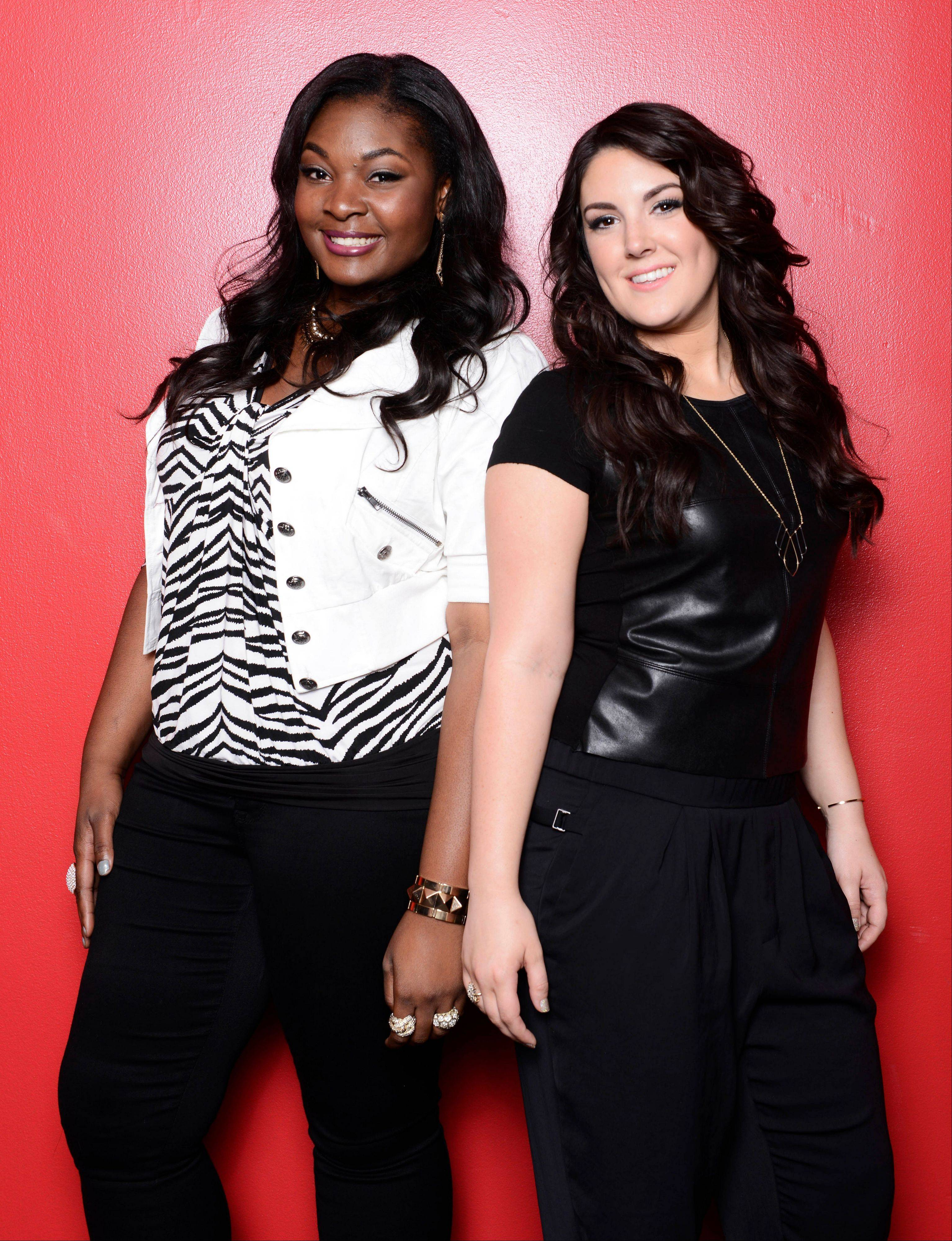 "Candice Glover, left, and Kree Harrison face off in ""American Idol: The Final 2."" It's a showdown between the 23-year-old R&B vocalist Glover of St. Helena Island, S.C., and the 22-year-old country crooner Harrison of Woodville, Texas."