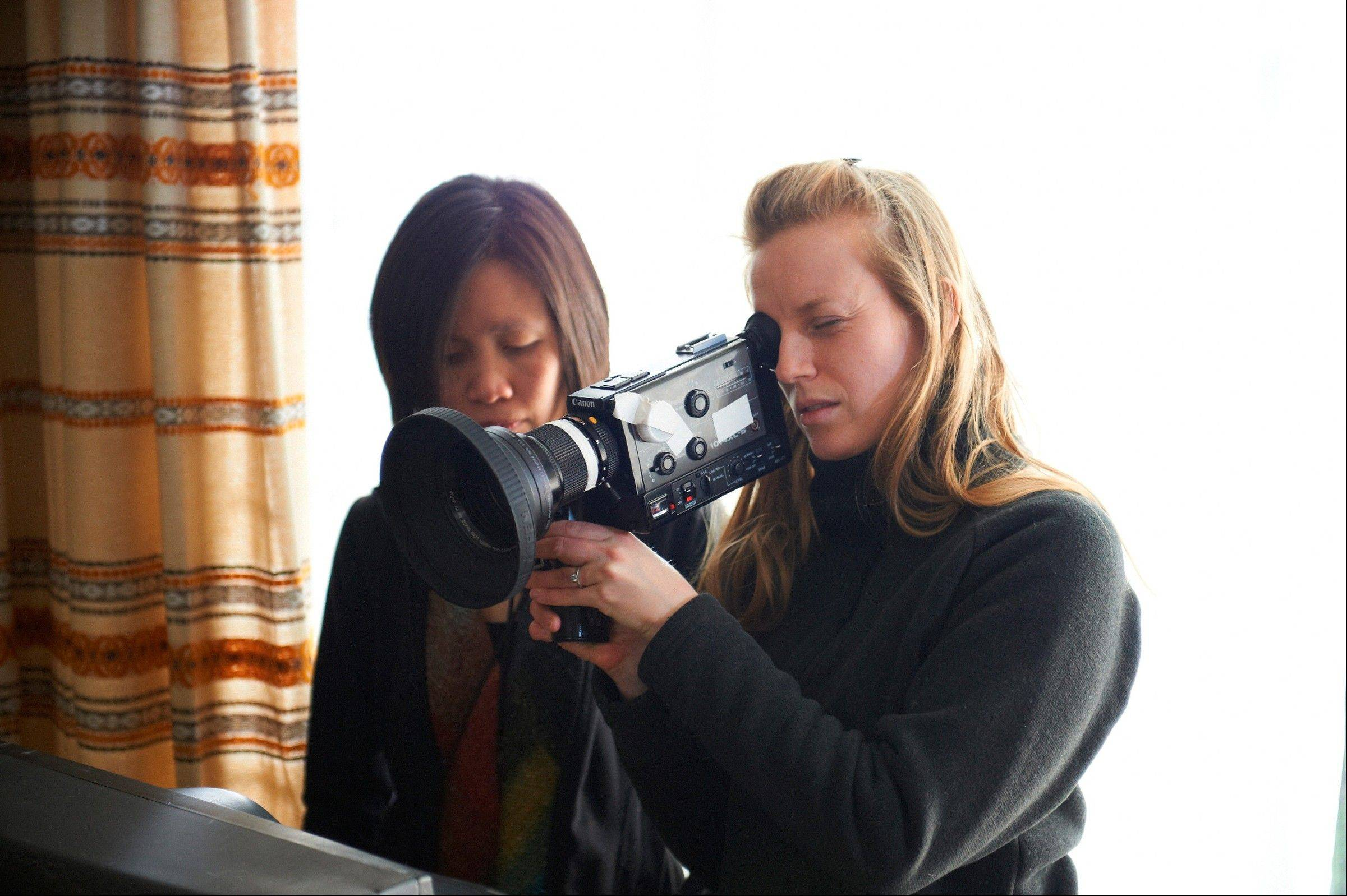 "Sarah Polley, right, shoots a scene for her new documentary, ""Stories We Tell."""