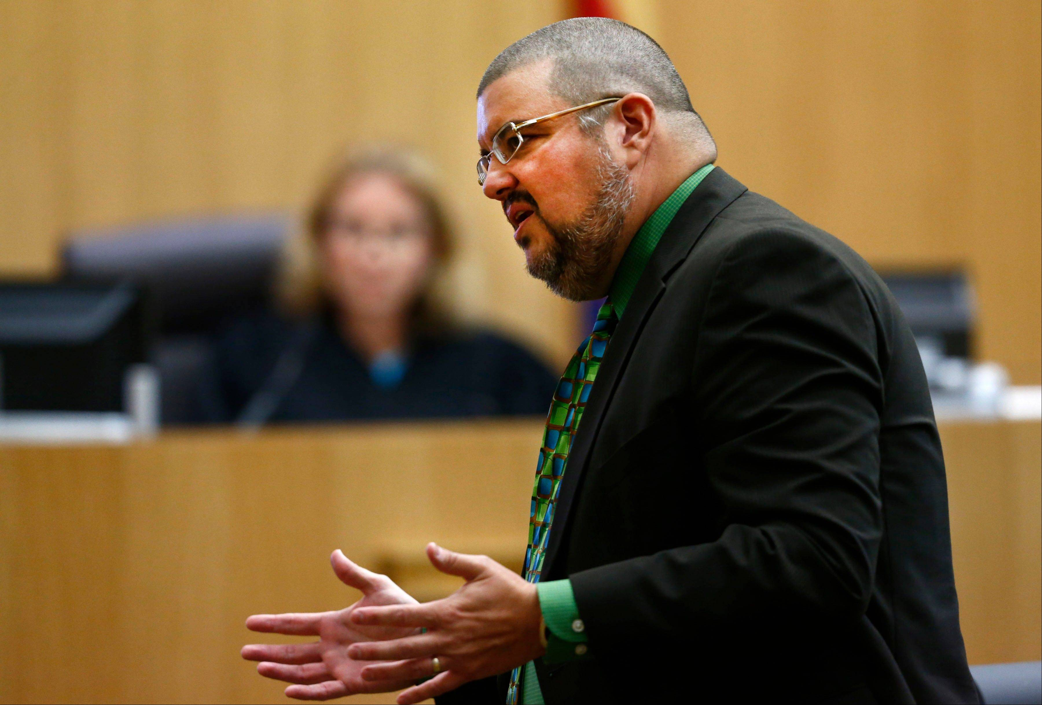 Defense attorney Kirk Nurmi addresses the jury during the sentencing phase of the Jodi Arias murder trial at Maricopa County Superior Court in Phoenix. On Tuesday, Nurmi and Jennifer Willmott asked a judge for permission to withdraw from the case. The request was denied.