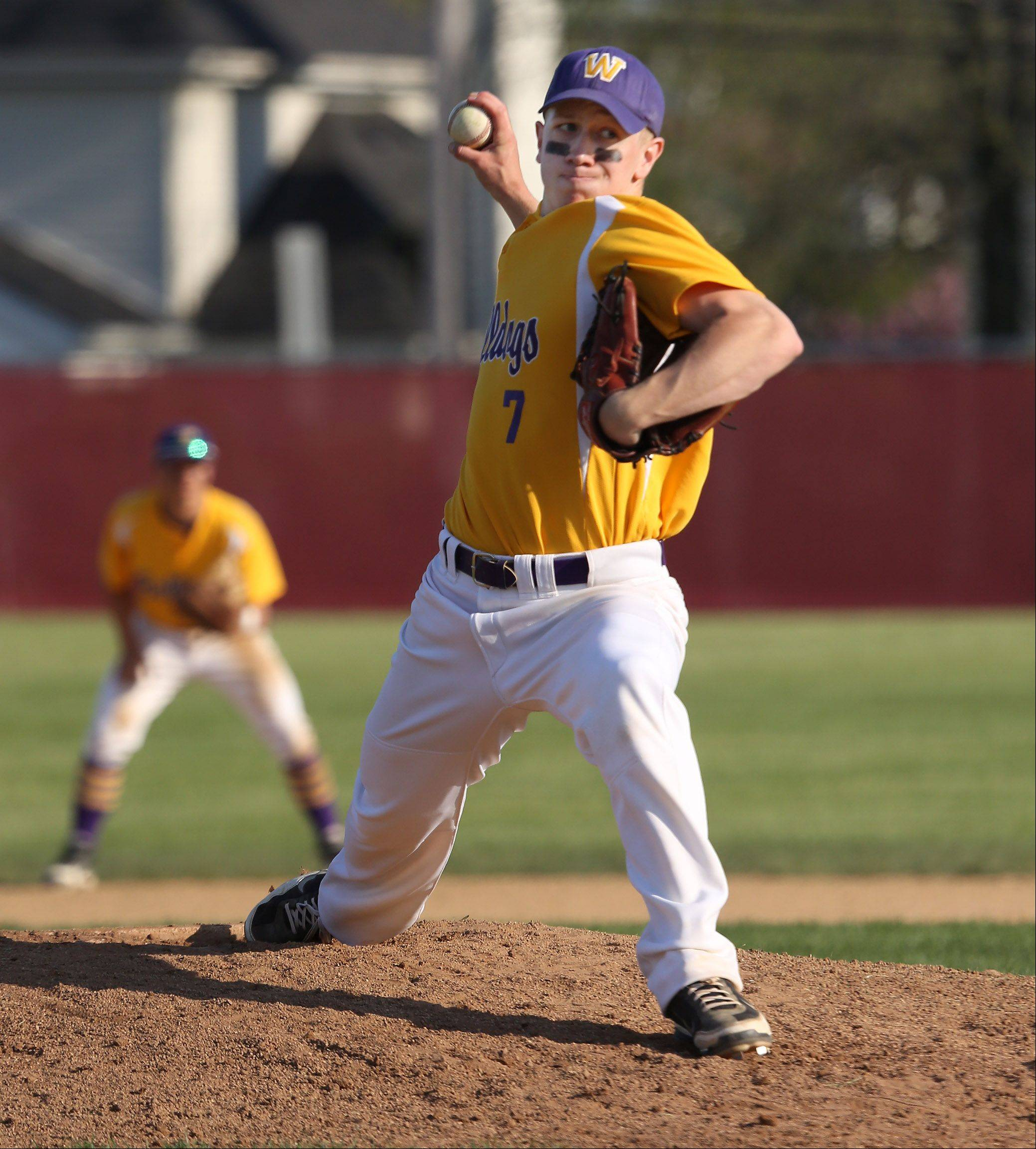 Wauconda's Brandon Gibis delivers during the North Suburban Conference championship game Thursday at Mundelein.