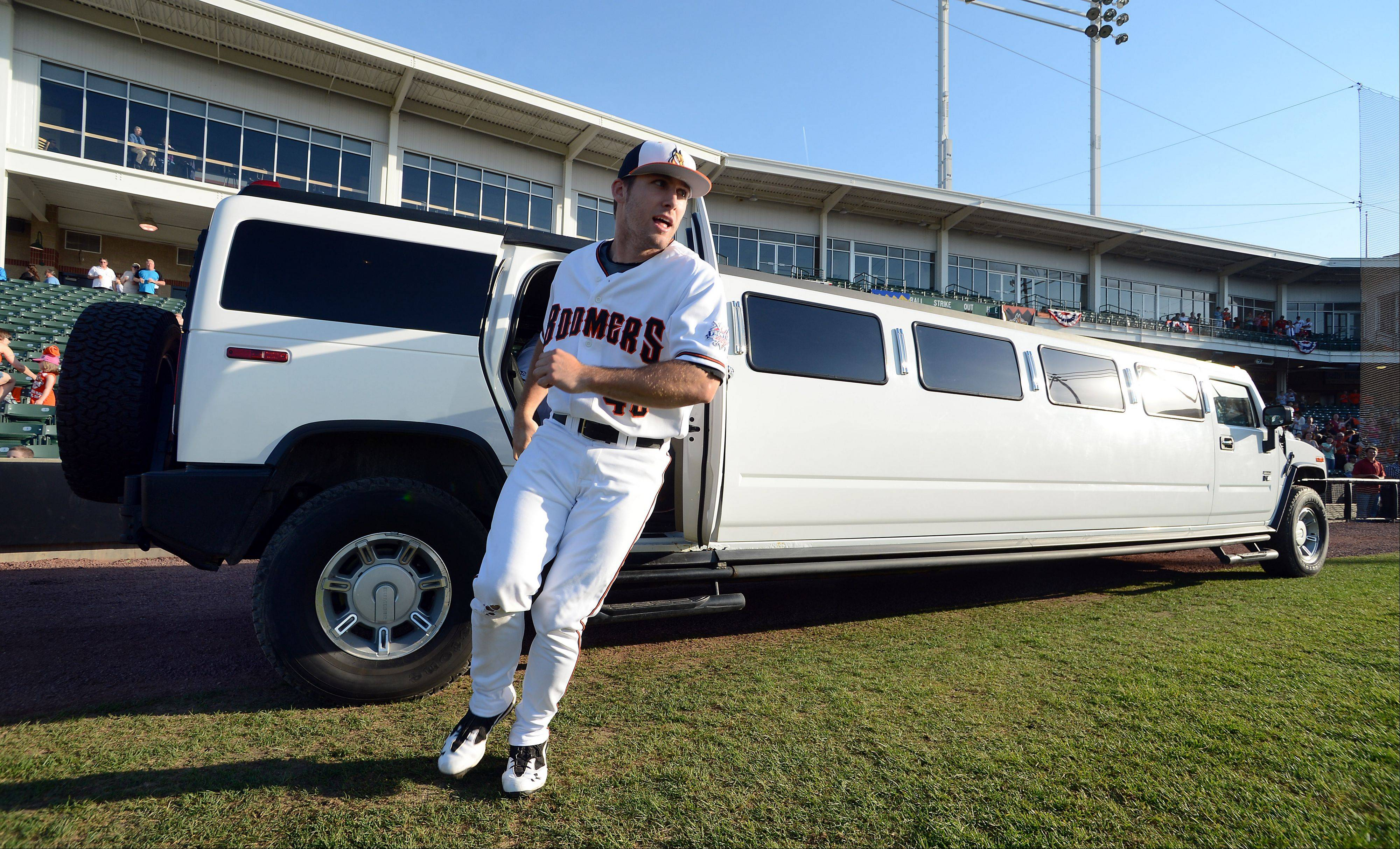 Schaumburg Boomer starter Chad Mozingo and his teammates arrive for their opening game in style as they get set to play the Windy City Thunderbolts on Thursday.