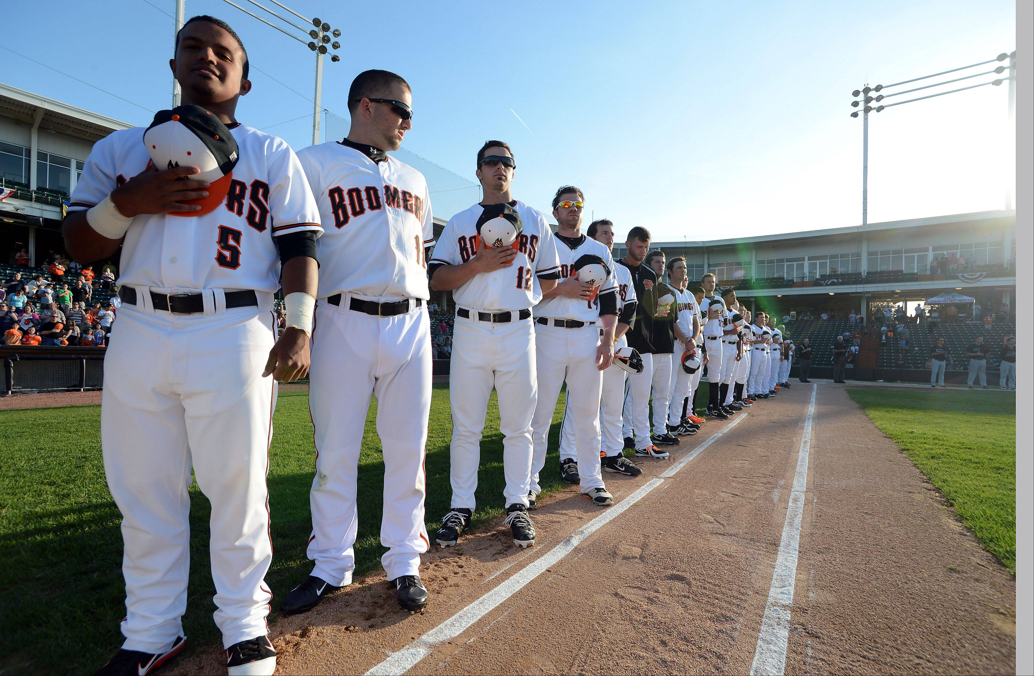 The Schaumburg Boomers take the field in their Opening Day game against the Windy City Thunderbolts on Thursday.