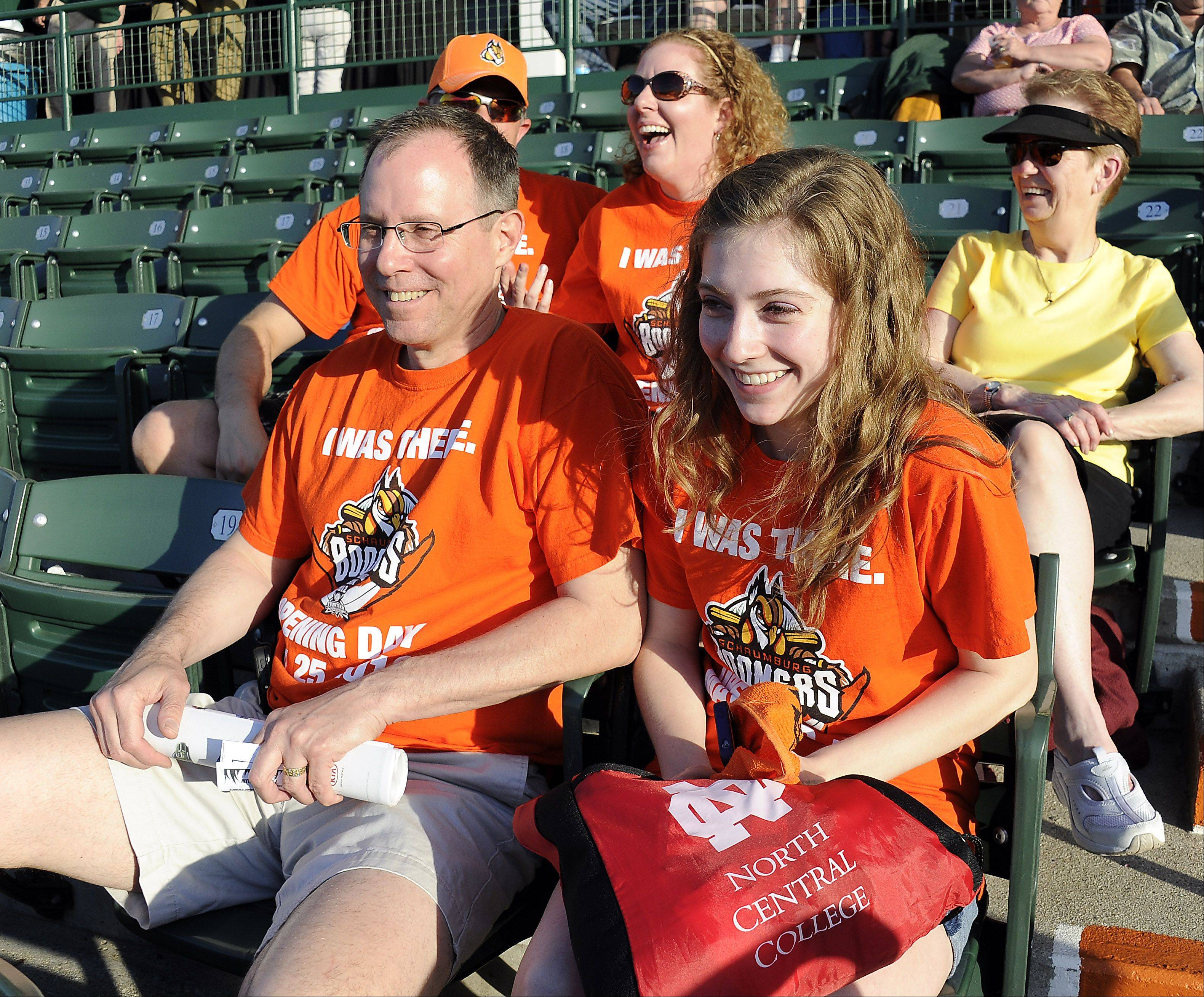 Boomers' fans Lauren Kolar, 20, and her dad Dan of Itasca were all excited about Opening Day as they take in the game between the Boomers and the Windy City Thunderbolts on Thursday.