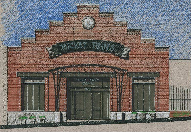 This is a rendering of proposed front facade for new Mickey Finn�s location in downtown Libertyville.