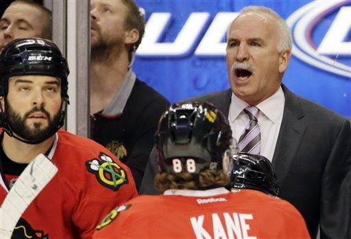Blackhawks coach Joel Quenneville was the center attention Friday after being named one of the three finalists for the Jack Adams Trophy, which goes to the coach of the year. Voted on by broadcasters, Ottawa's Paul MacLean and Anaheim's Bruce Boudreau were also named finalists.