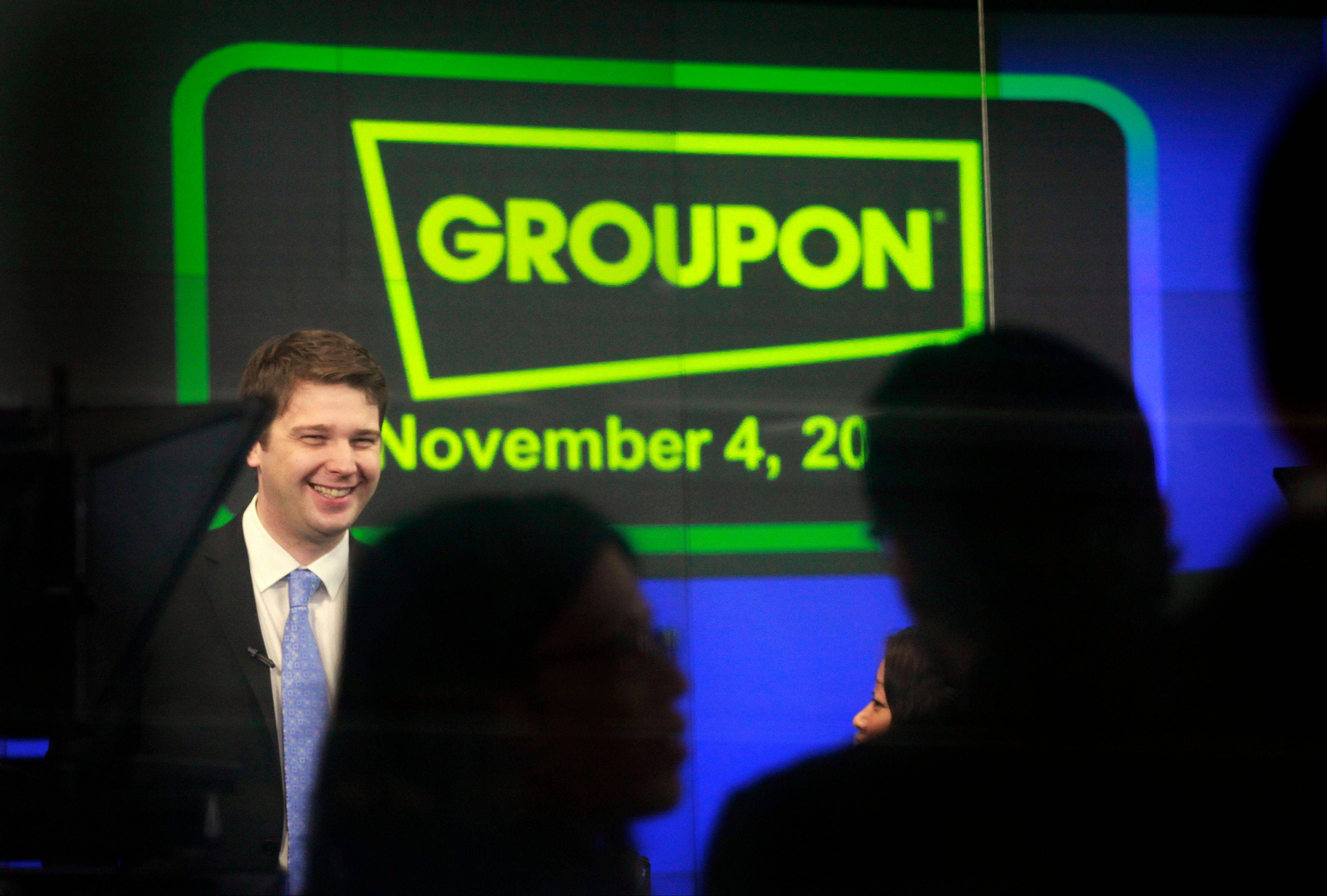 Associated Press/Nov. 4, 2011 Andrew Mason, founder and CEO of Groupon, attends his company's IPO at Nasdaq, in New York. Former Groupon CEO Mason announced several new ventures Friday, including indulging his inner rock star with an album of �motivational business music.