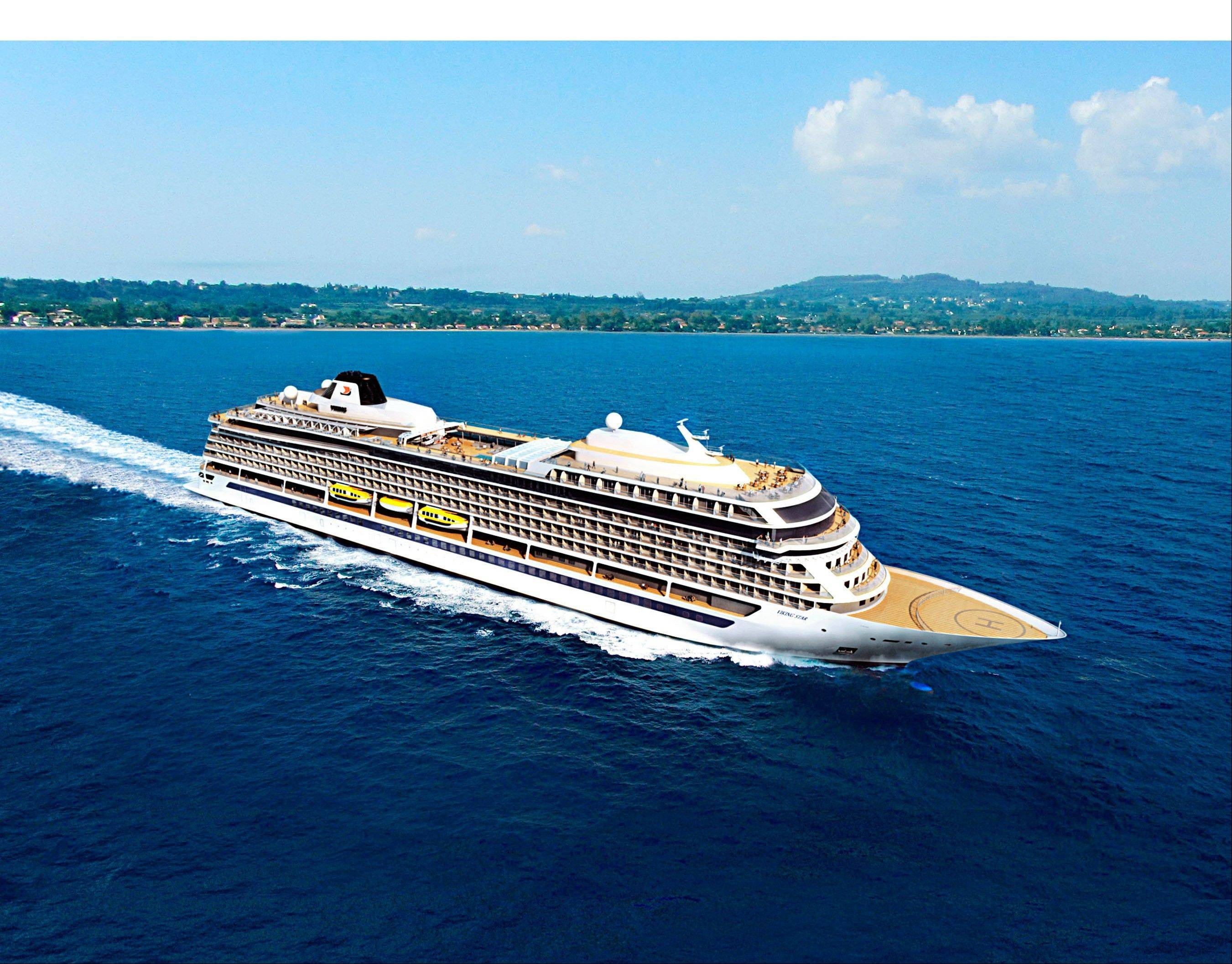 Artist rendering of the 928-passenger Viking Star, the first new ocean ship from Viking Cruises, which will set sail in May 2015, with destination-focused itineraries in Scandinavia and the Baltic; and the Western and Eastern Mediterranean.