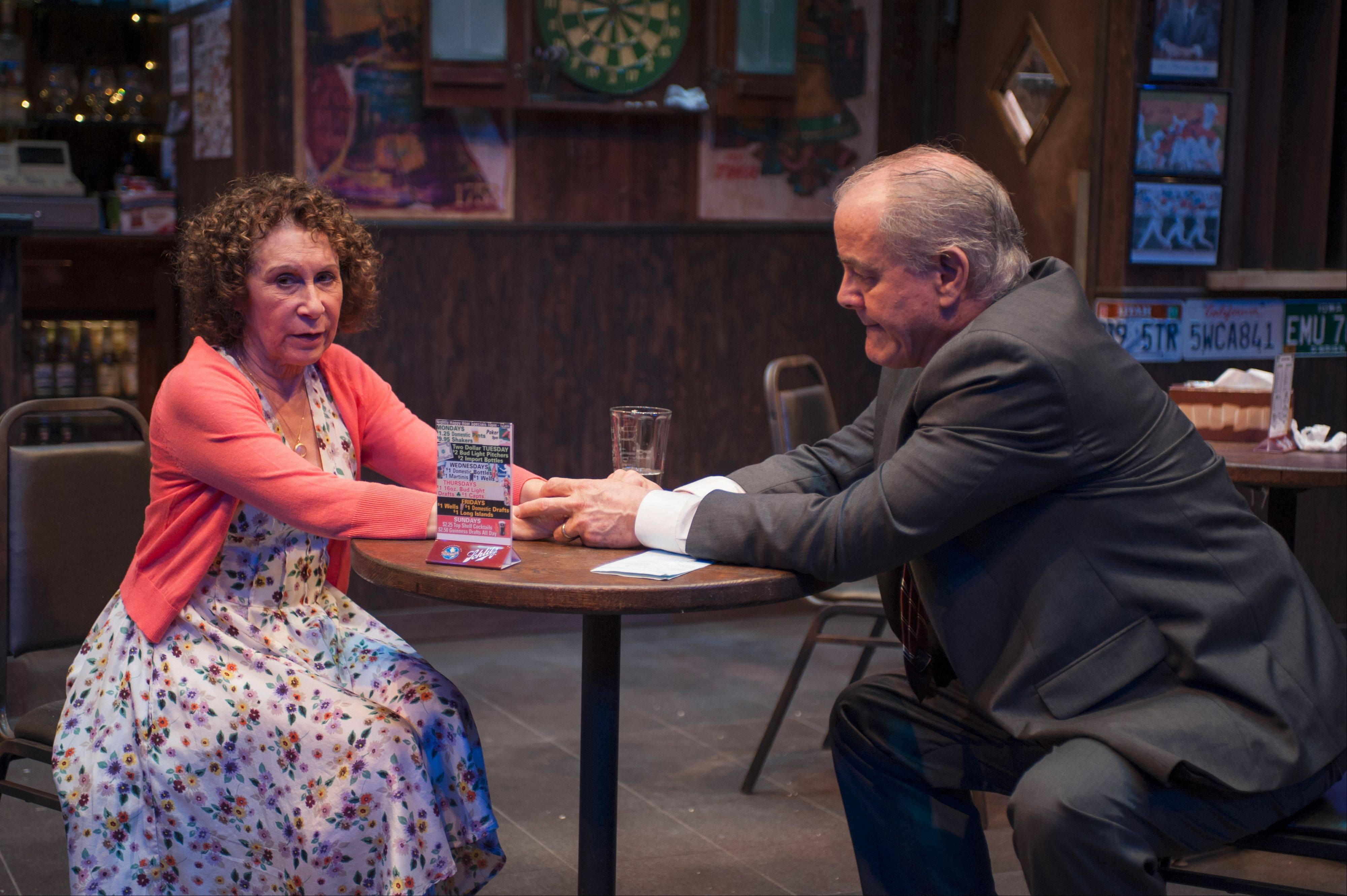 "Rhea Perlman plays Stella, a divorced nurse looking to make changes in her life opposite Francis Guinan's Lou, a grieving widower who rarely ventures outside his Philadelphia bar in Bruce Graham's ""Stella & Lou,"" in its world premiere at Northlight Theatre."