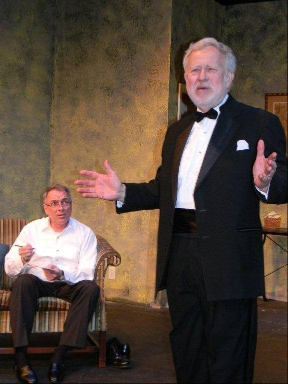 "Curtis (Jay Cook, left) listens to the ghost of his Father (Richard Westphal) in Steel Beam Theatre's Chicago-area premiere of A.R. Gurney's 2011 off-Broadway comedy ""Black Tie."""