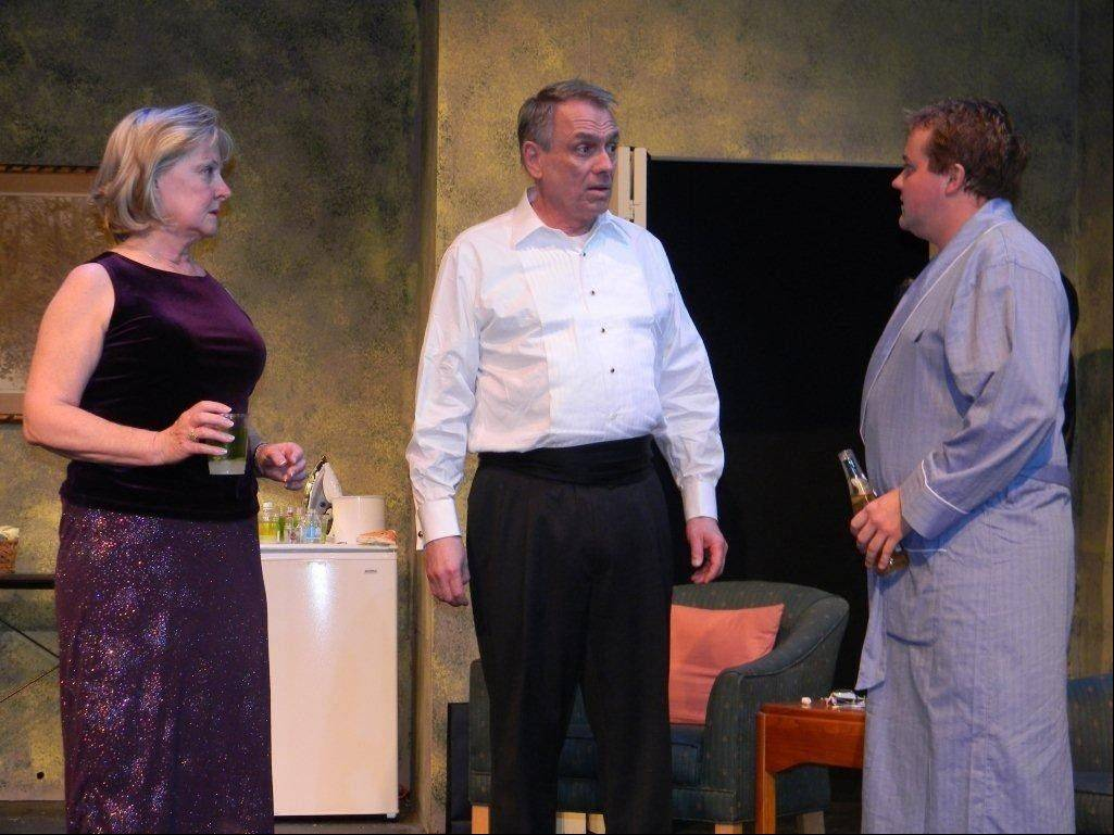 "Teddy (Luke Donia, right) tells his parents, Mimi (Dana Teichart) and Curtis (Jay Cook), about new problems with the wedding rehearsal dinner in Steel Beam Theatre's Chicago-area premiere of A.R. Gurney's 2011 off-Broadway comedy ""Black Tie."""