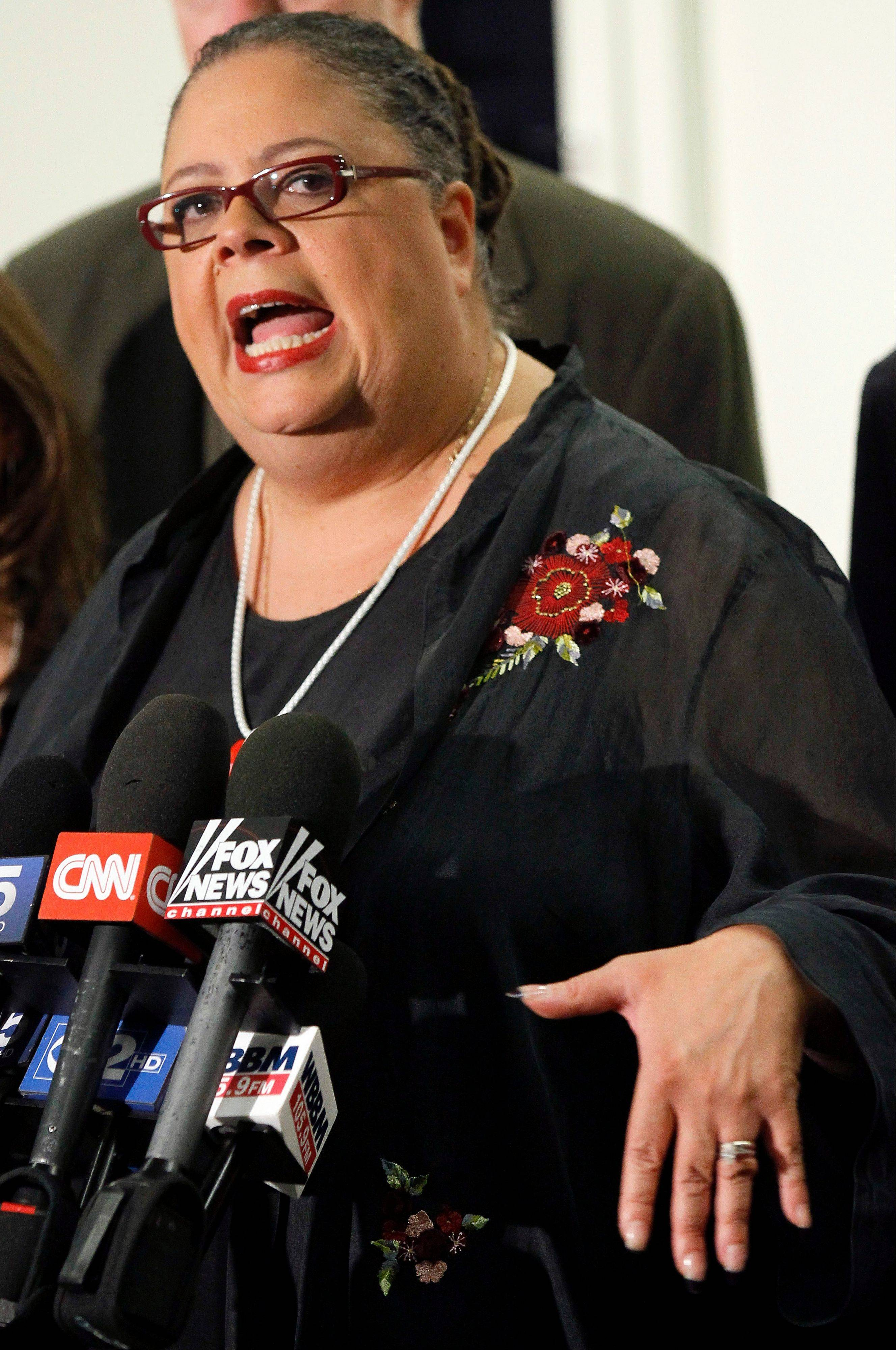 Union President Karen Lewis led Chicago's teachers on a seven-day strike that kept more than 350,000 students out of school last year.