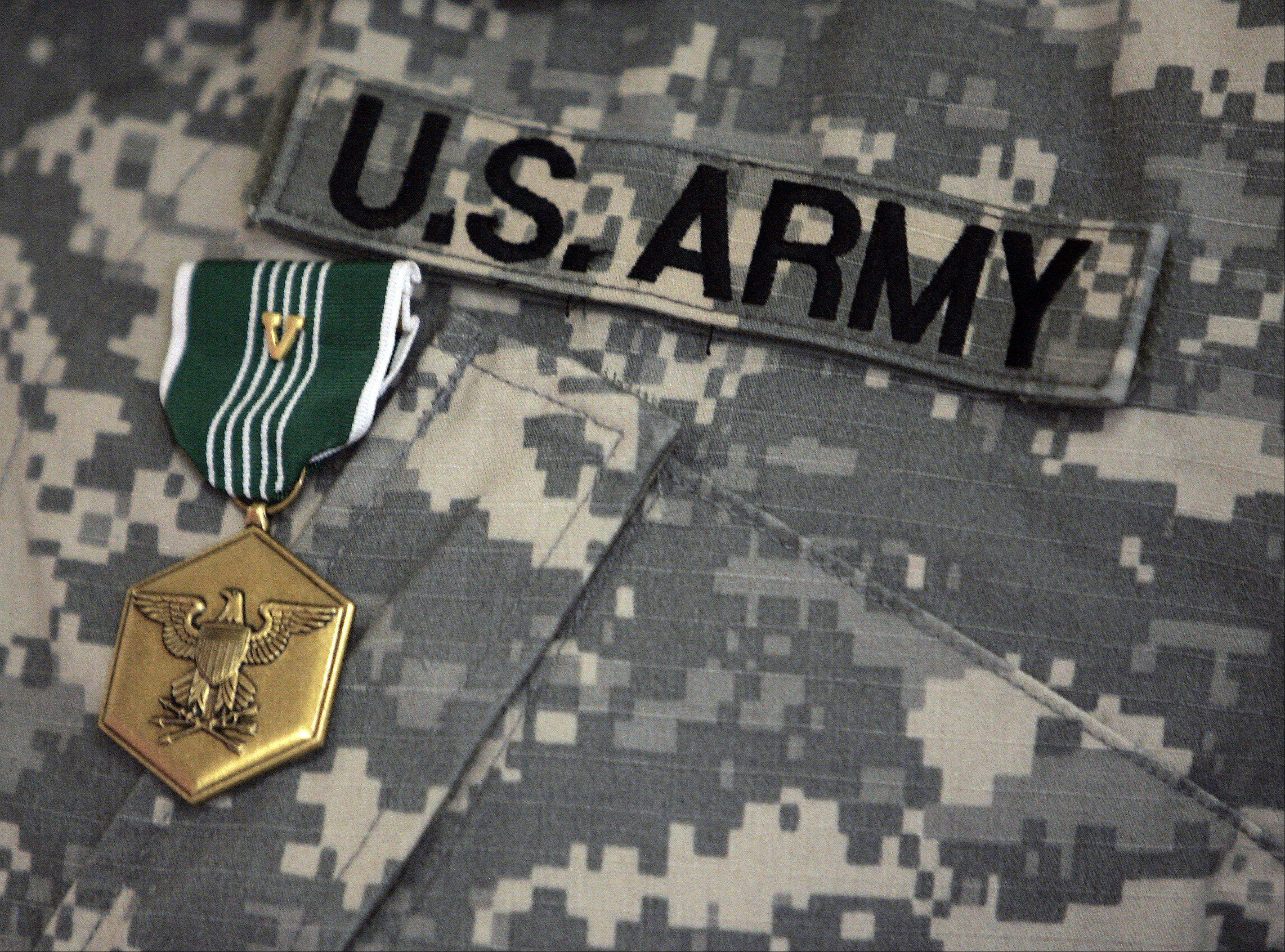 The Army Commendation Medal of Valor earned by retired U.S. Army Sgt. Michael Griffin of Carpentersville.