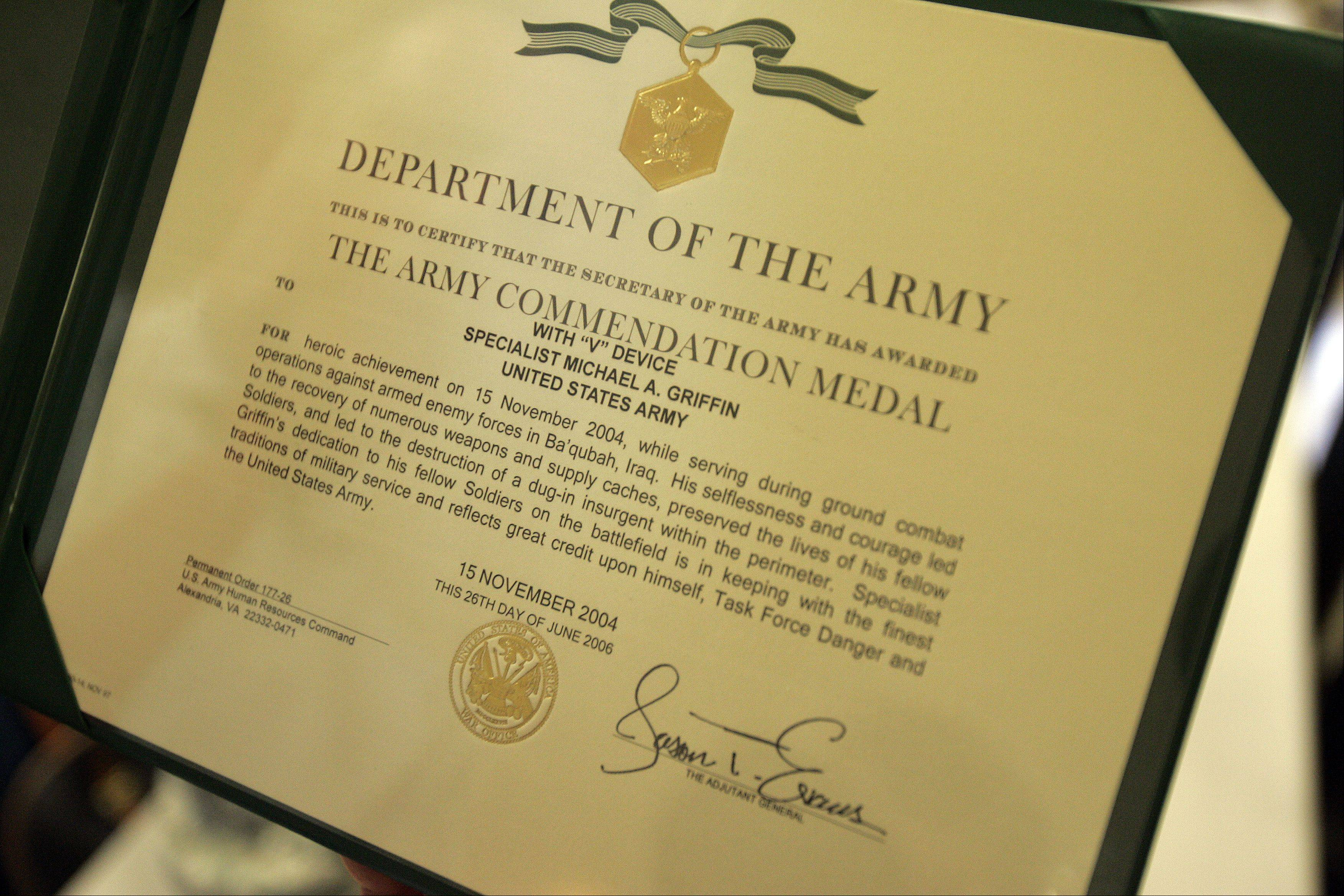 The Army Commendation certificate for retired U.S. Army Sgt. Michael Griffin of Carpentersville.
