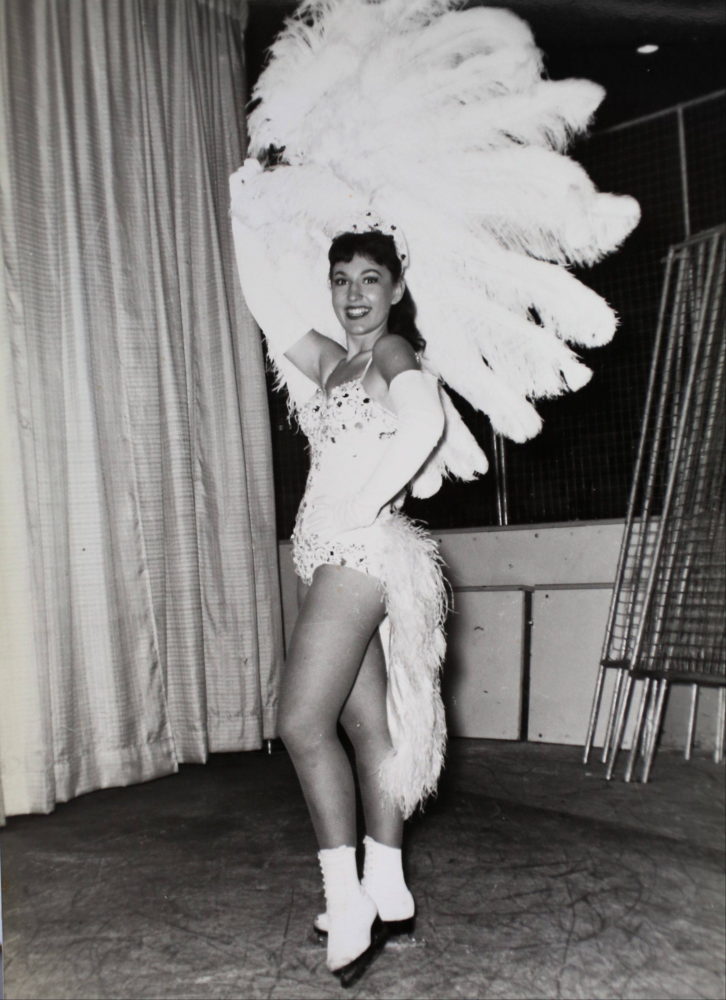 Ice skating teacher Karen Kay Lavris in a portrait when she performed with the Ice Capades as a young woman.