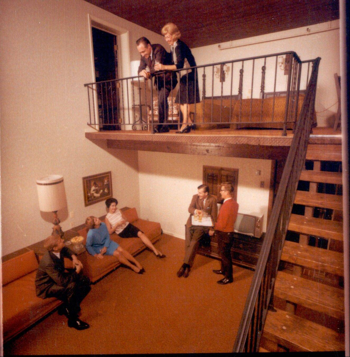Multilevel suites were an early feature of the resort. Management is now updating guest rooms to adapt to modern electronics and television viewing habits.