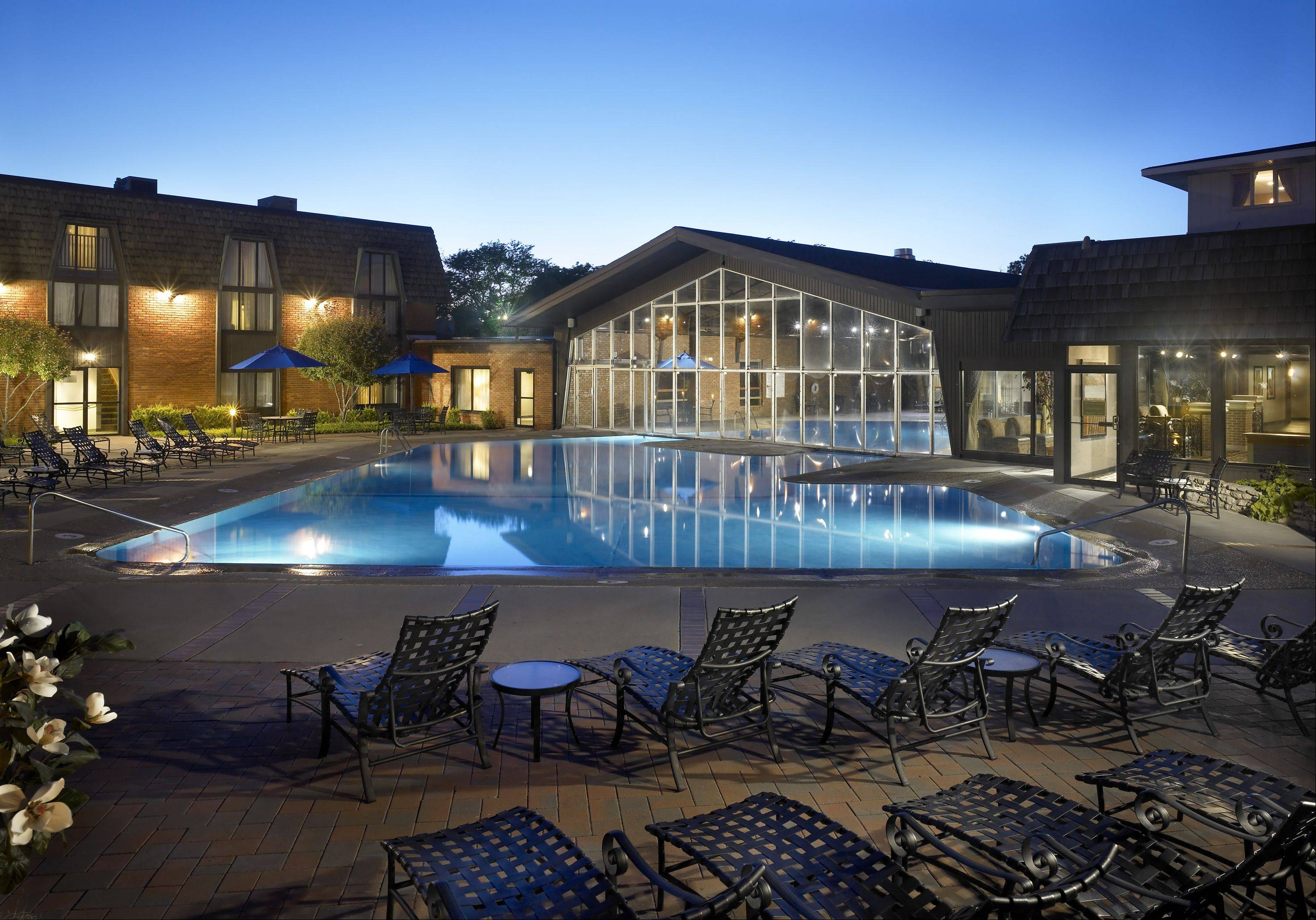 Indoor/outdoor pool at Pheasant Run Resort.