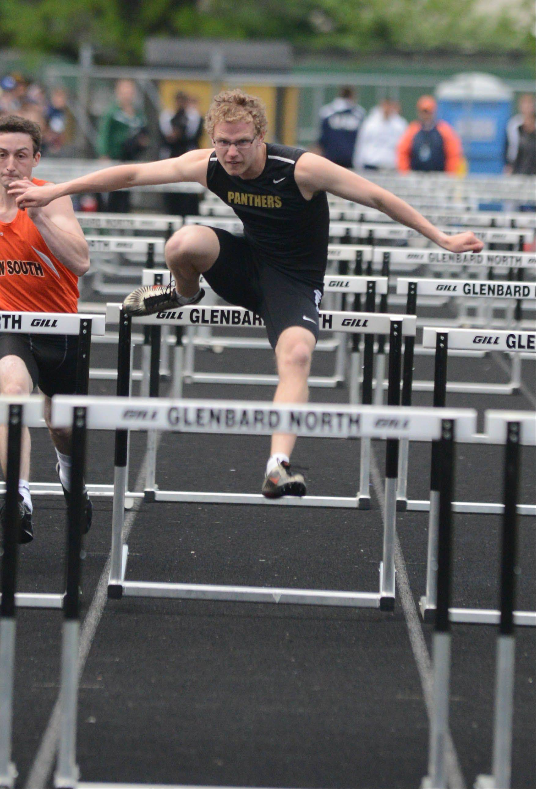 Jon Heideman of Glenbard North runs the 110 Meter Hurdles during the Class 3A Glenbard North boys track sectional finals Friday.