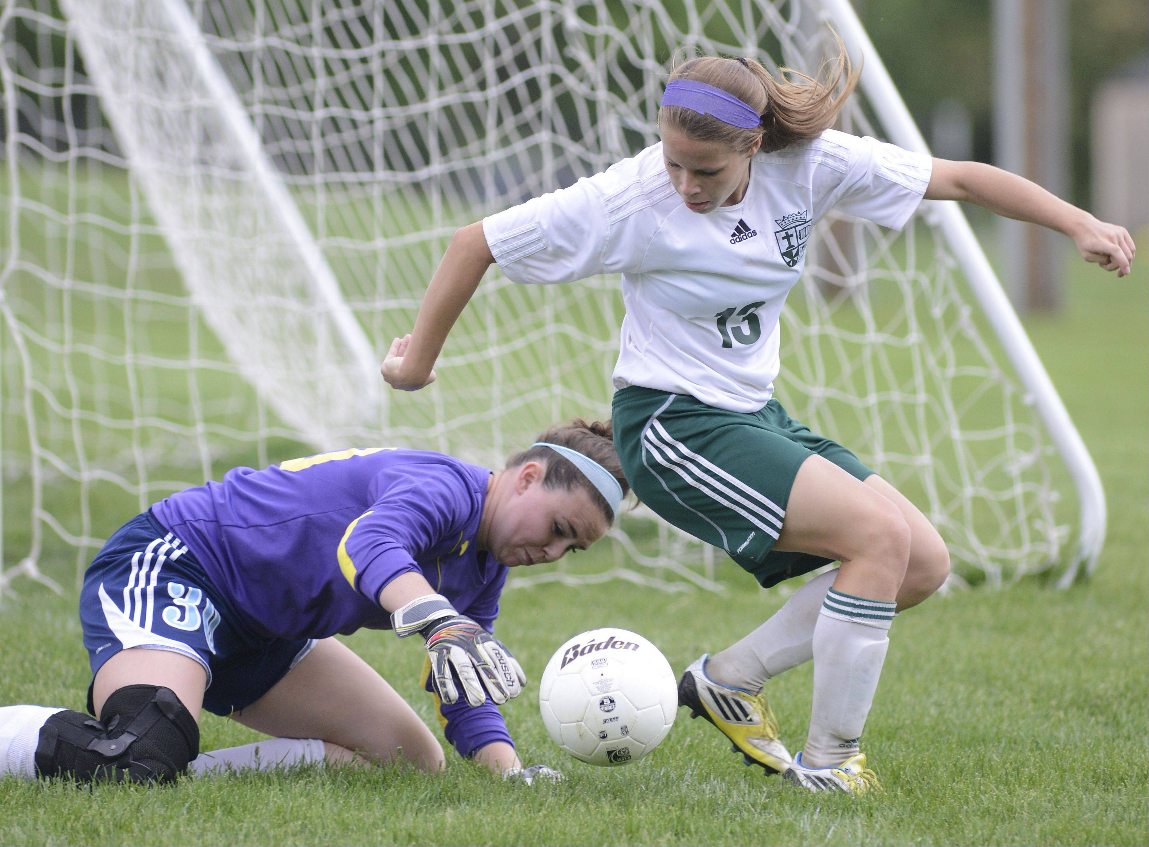 Willows Academy goalie Bethy Hunt attempts to capture the ball after a drive on the net by St. Edward's Meagan Kearney in the first half of the Class 1A girls soccer sectional title game on Friday, May 17.