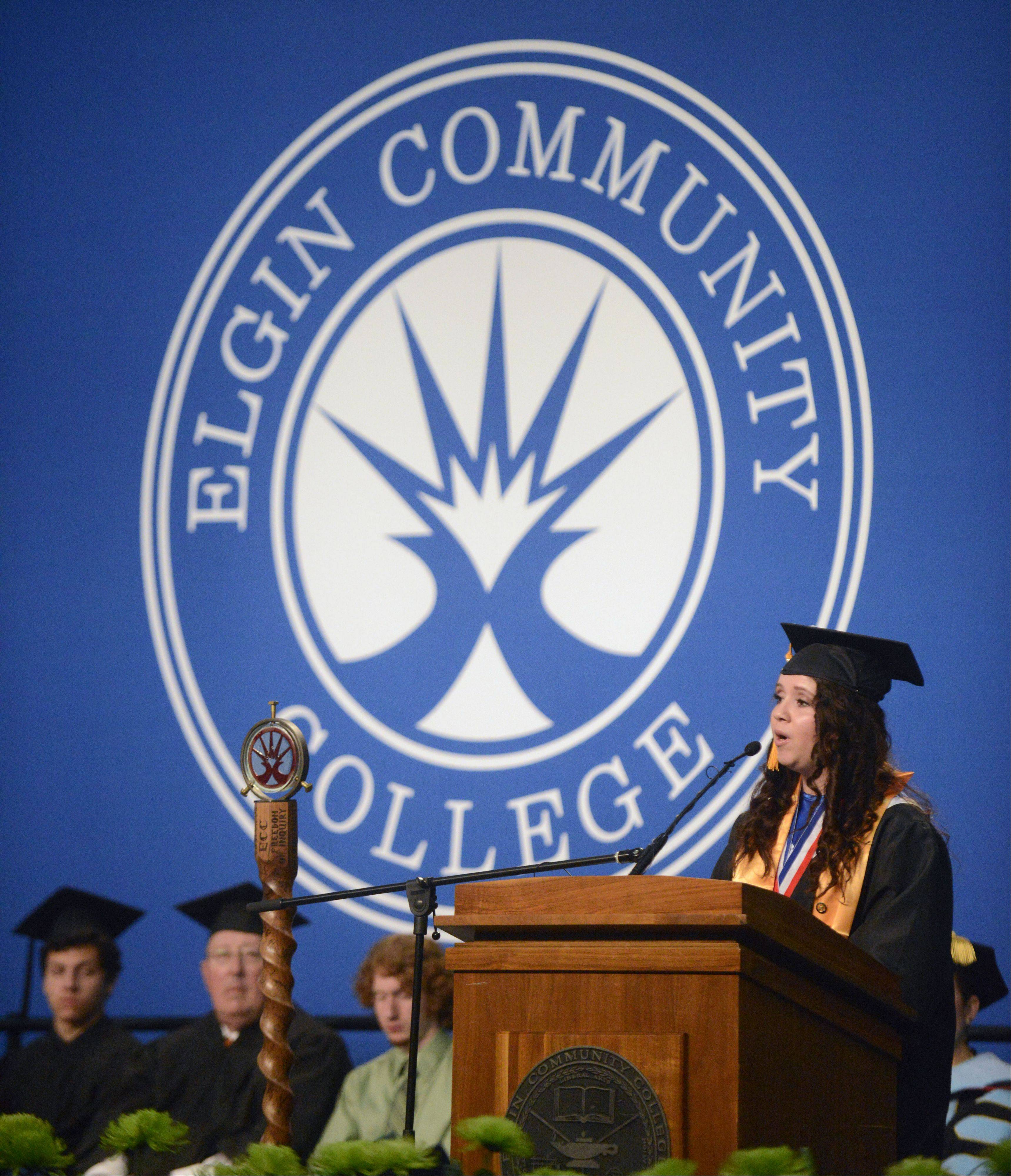 Elgin Community College nursing graduate and student speaker Karen Gonzalez addresses her classmates during their commencement ceremony on Saturday. To see more photos and order reprints, visit www.dailyherald.com/galleries/news/graduations/
