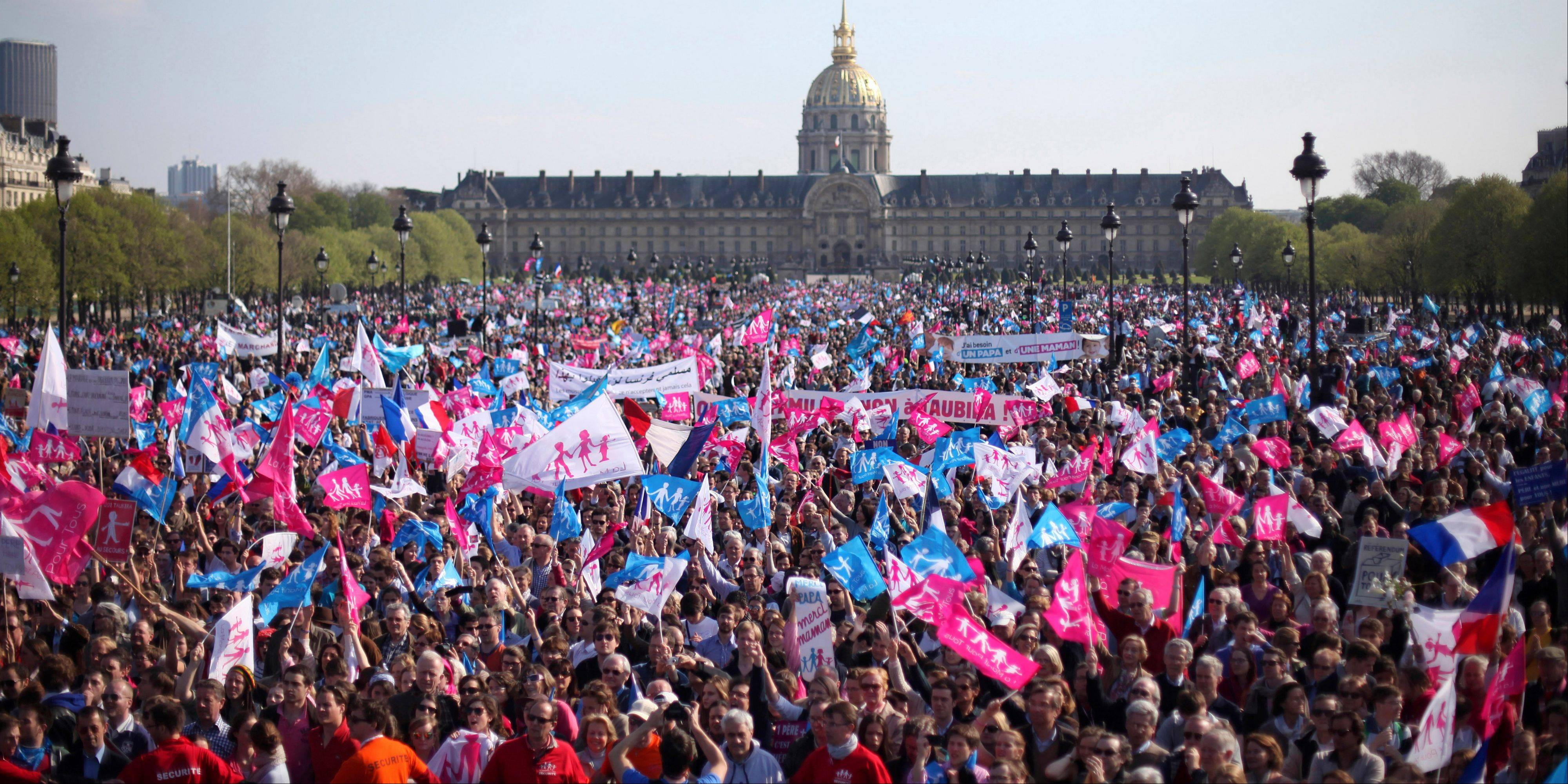 Demonstrators gathered at the Invalides square in Paris, during a rally to protest against French President Francois Hollande�s social reform on gay marriage and adoption.