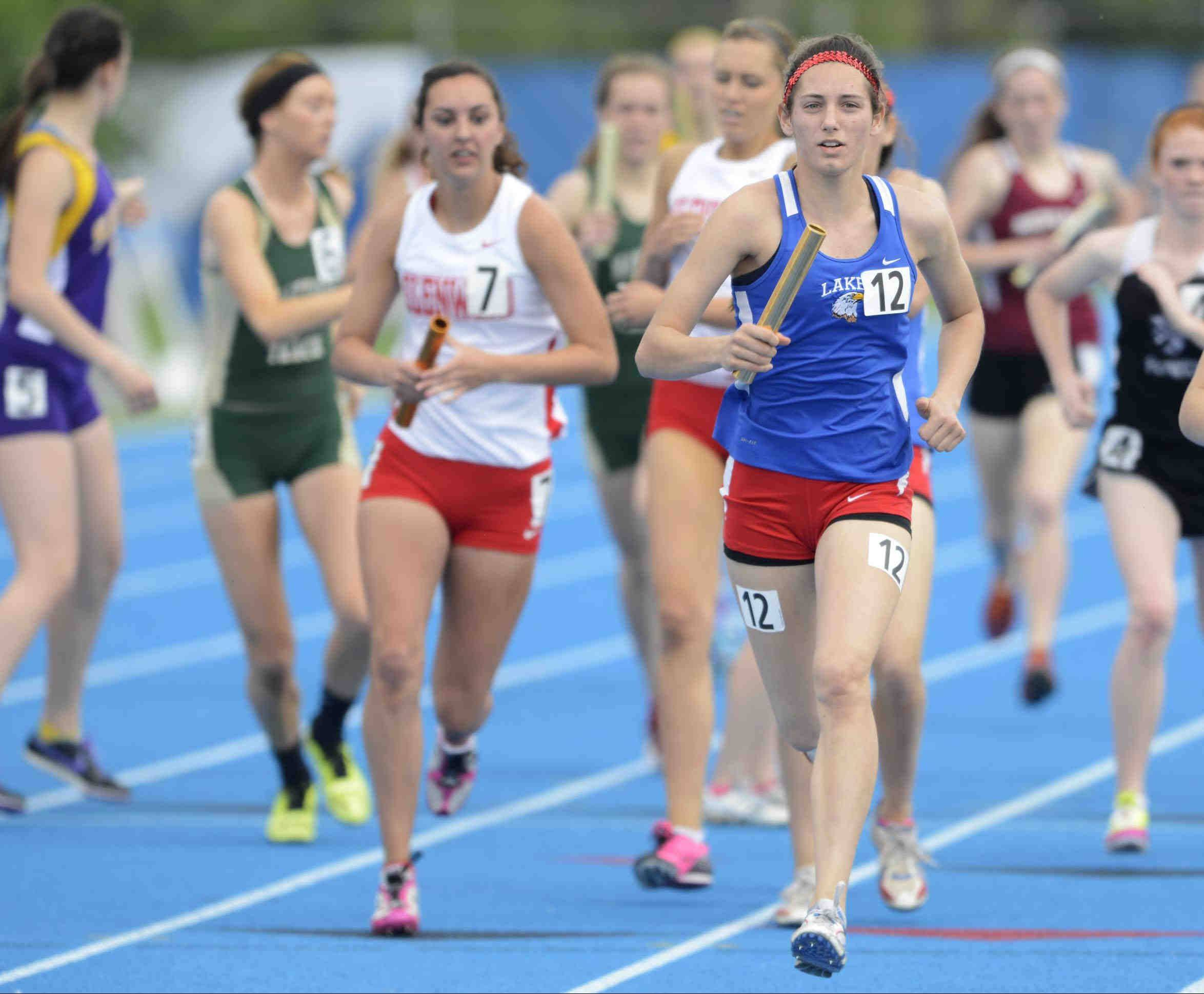Lakes� Danielle Griesbaum takes the baton to a win on the anchor leg Saturday at the Class 2A 3,200-meter relay at the girls track and field state finals at O�Brien Stadium.