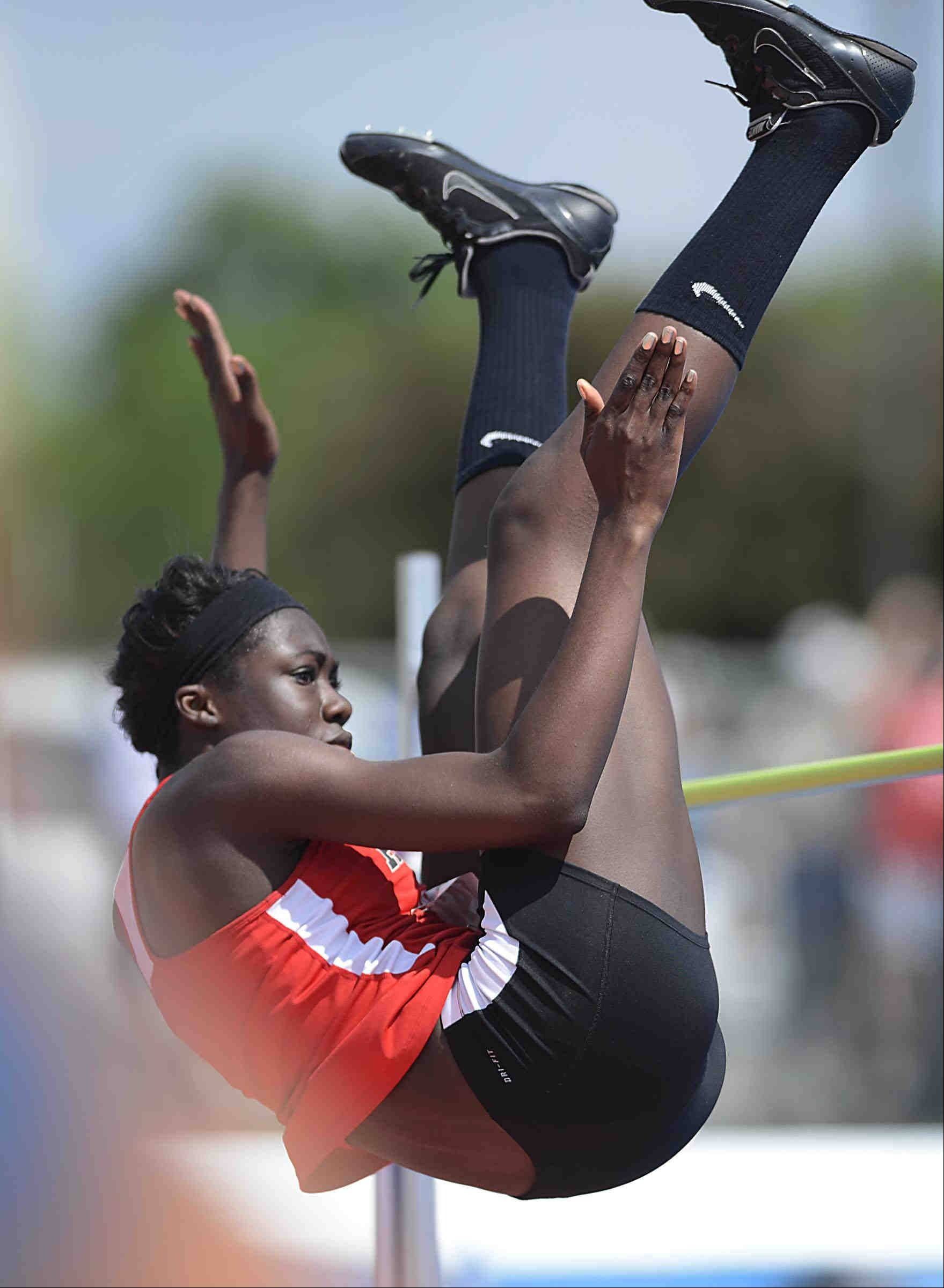 Huntley�s Omo Tseumah wins the high jump Saturday at the Class 3A girls state track and field finals at O�Brien Stadium at Eastern Illinois University in Charleston.