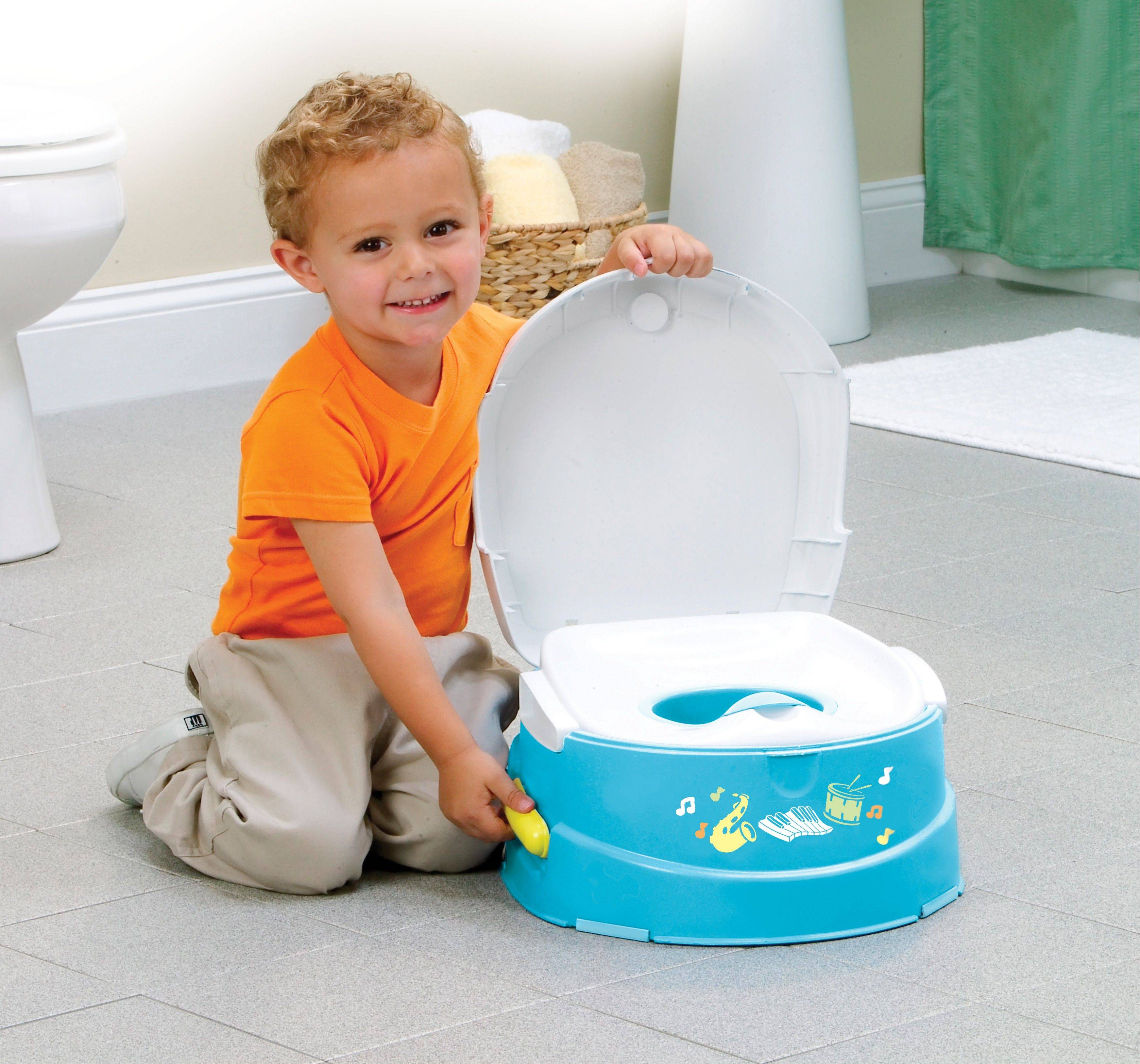 The Musical Talkin Potty and Step Stool. has a handle that plays flushing sounds and parents can record a personal reward message.