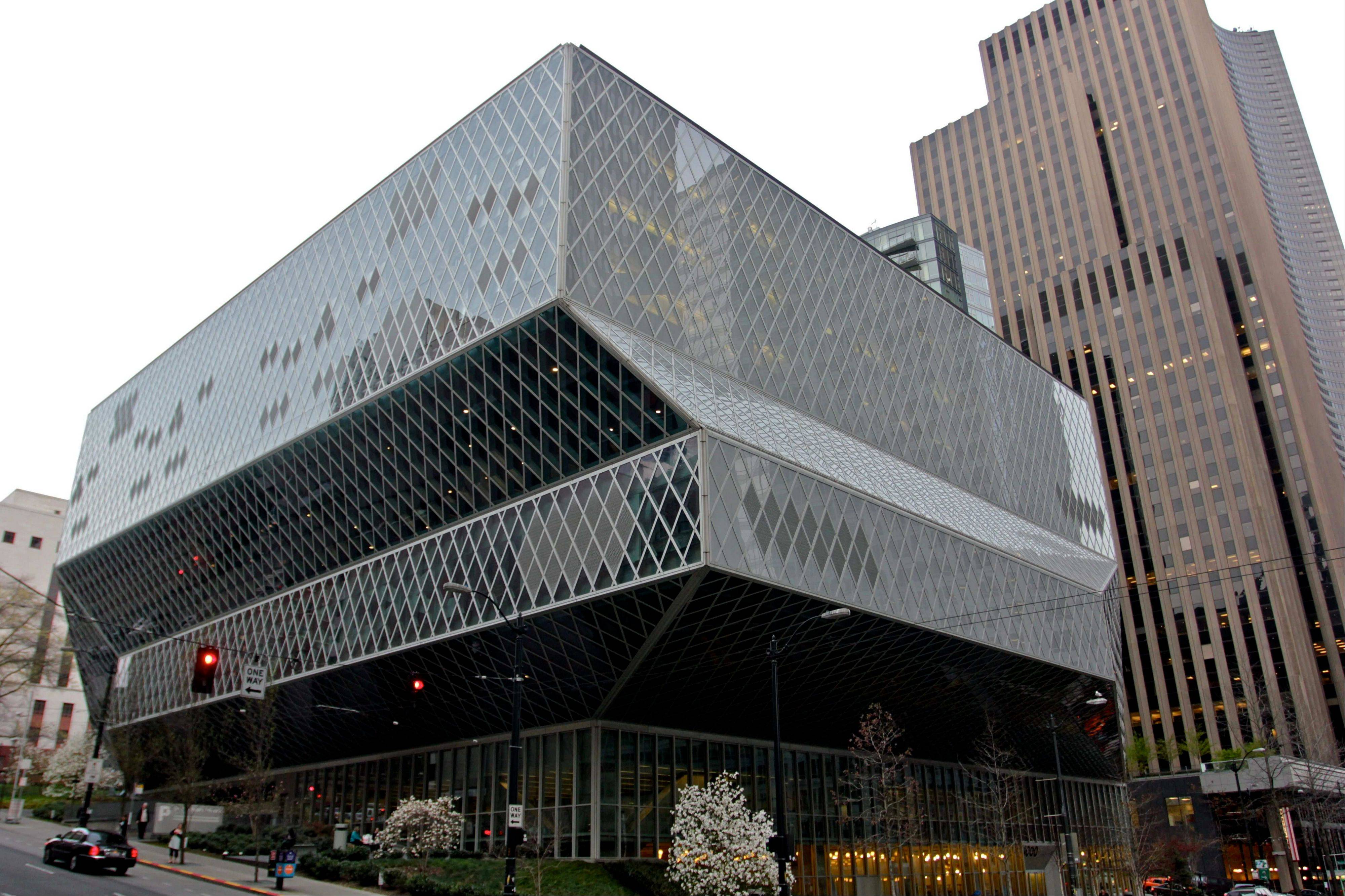 The exterior of the Seattle Central Library in downtown Seattle.