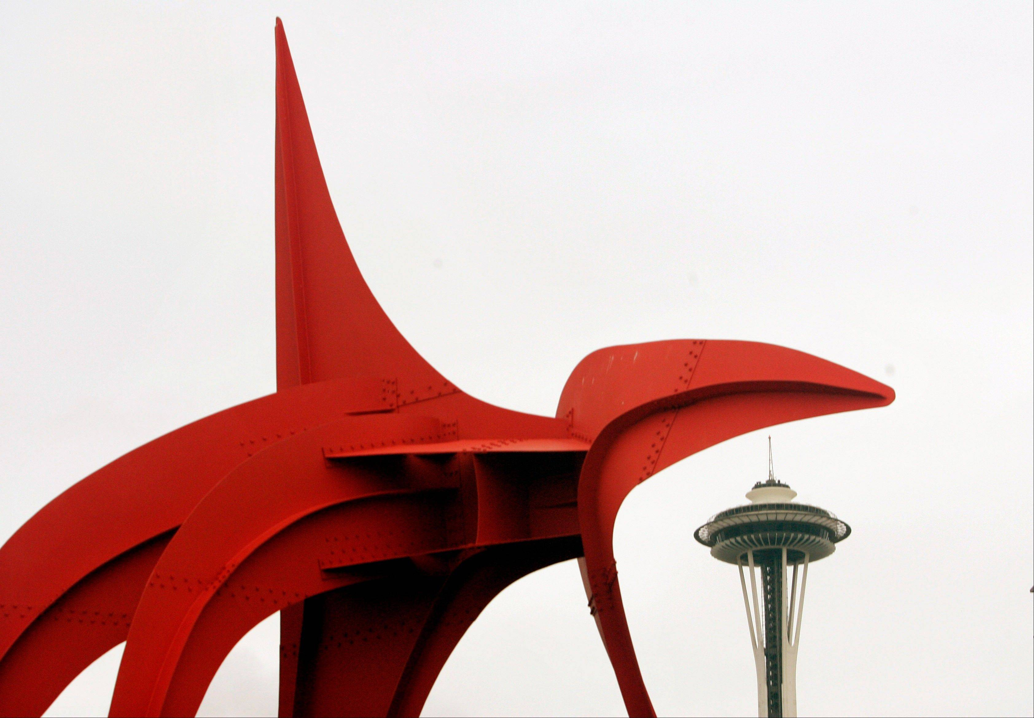 "The 39-foot-tall ""Eagle"" sculpture by Alexander Calder sits next to the Space Needle at the Olympic Sculpture Park in Seattle."
