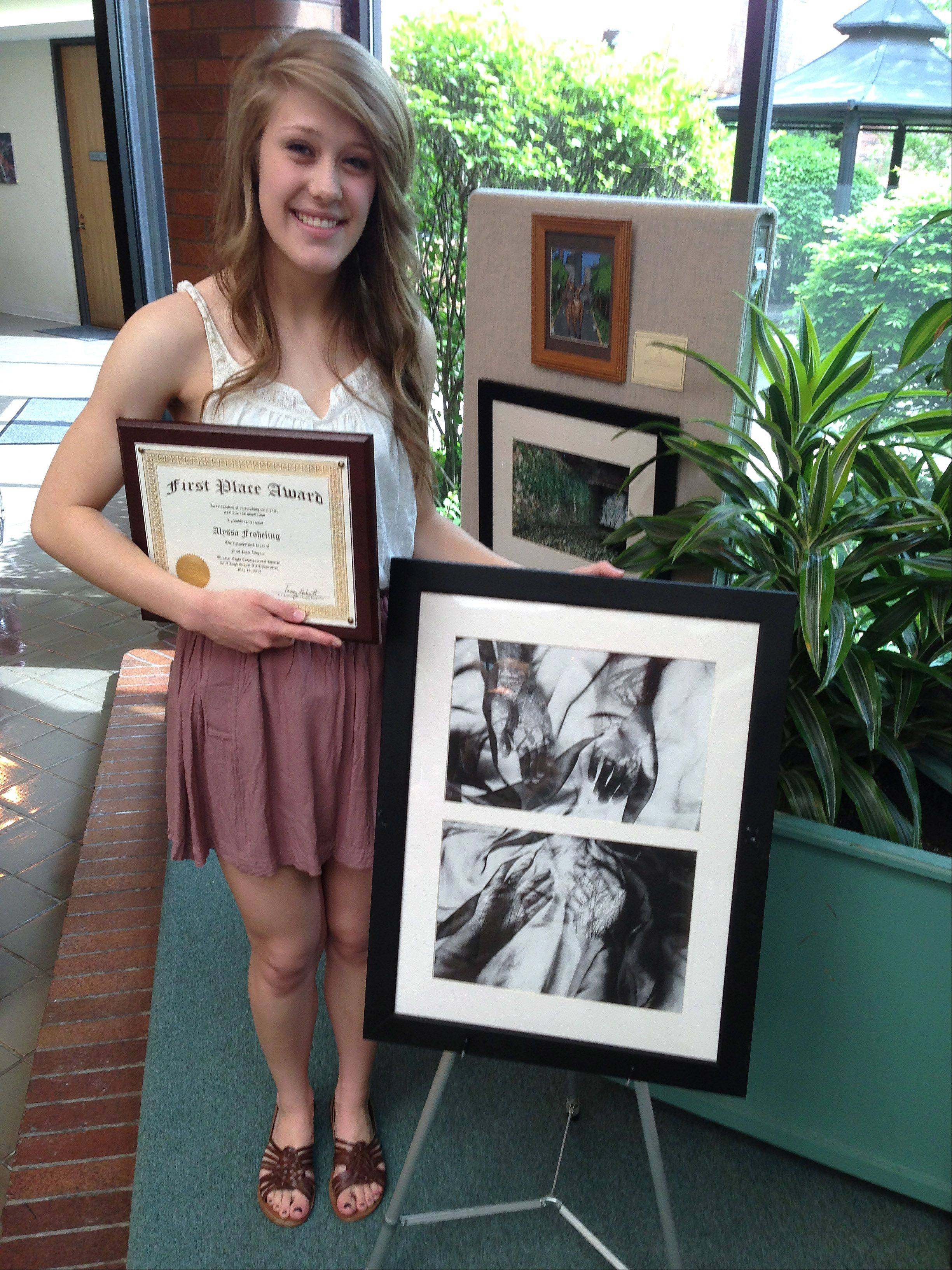 "Palatine High School senior Alyssa Froehling won the 31st annual Congressional High School Art Competition hosted by 8th District U.S. Rep. Tammy Duckworth. Froehling's winning black-and-white photo composition is titled ""Symbiosis."""