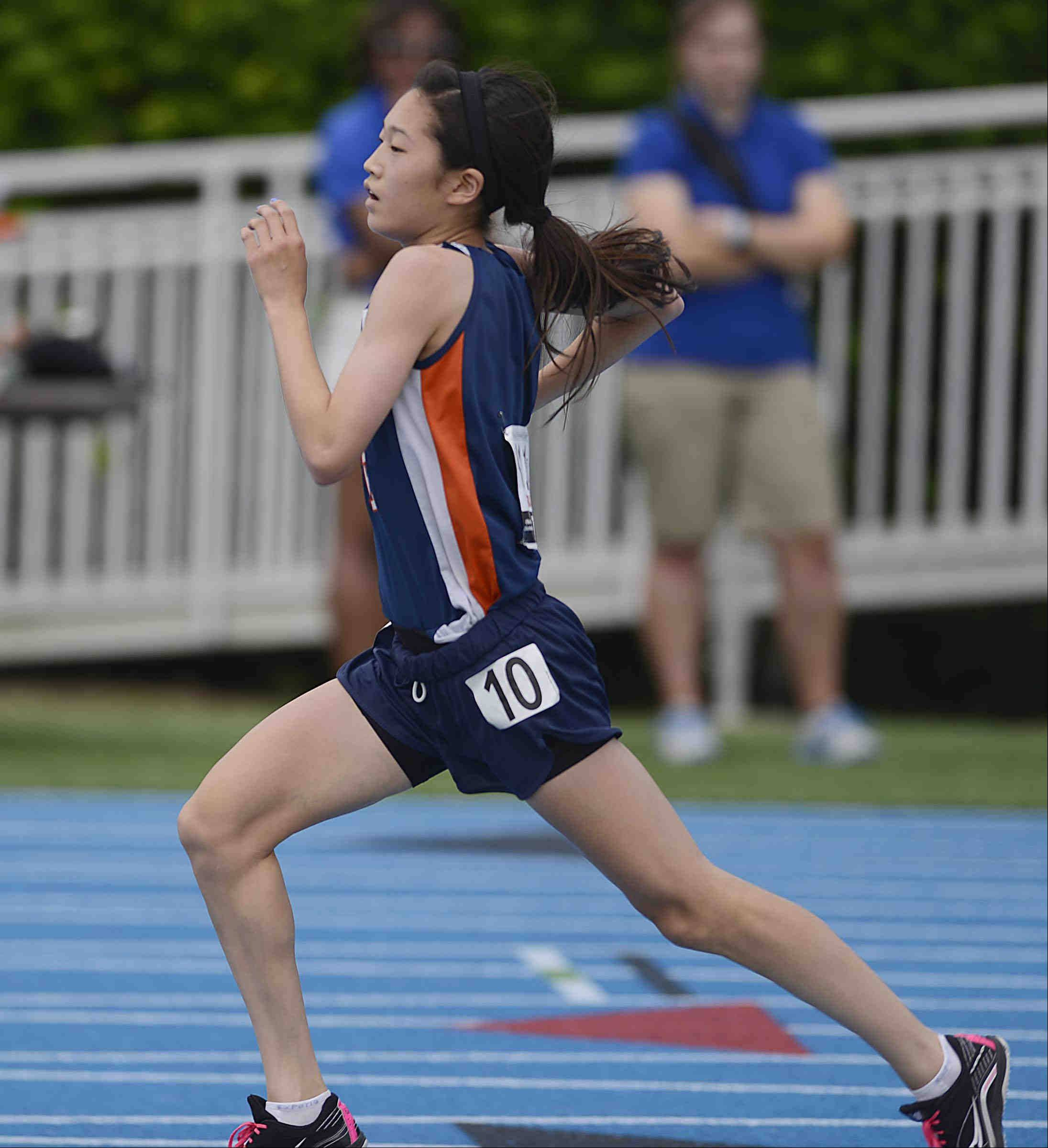 Buffalo Grove's Kaitlyn Ko, a freshman, wins her section of the 1,600 meter run Saturday at the Class 3A girls state track and field finals at O'Brien Stadium at Eastern Illinois University in Charleston.
