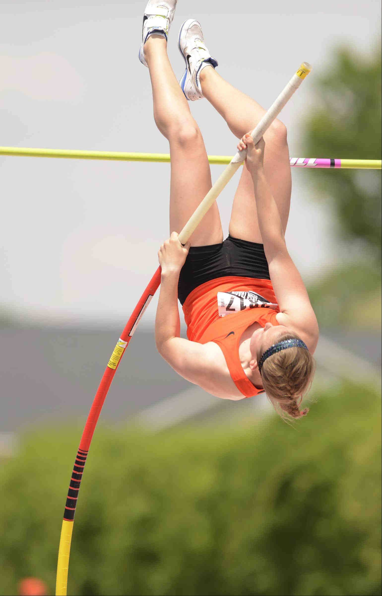 Wheaton Warrenville South's Amy Smith competes in the pole vault at the Class 3A girls state track and field finals at O'Brien Stadium at Eastern Illinois University in Charleston.