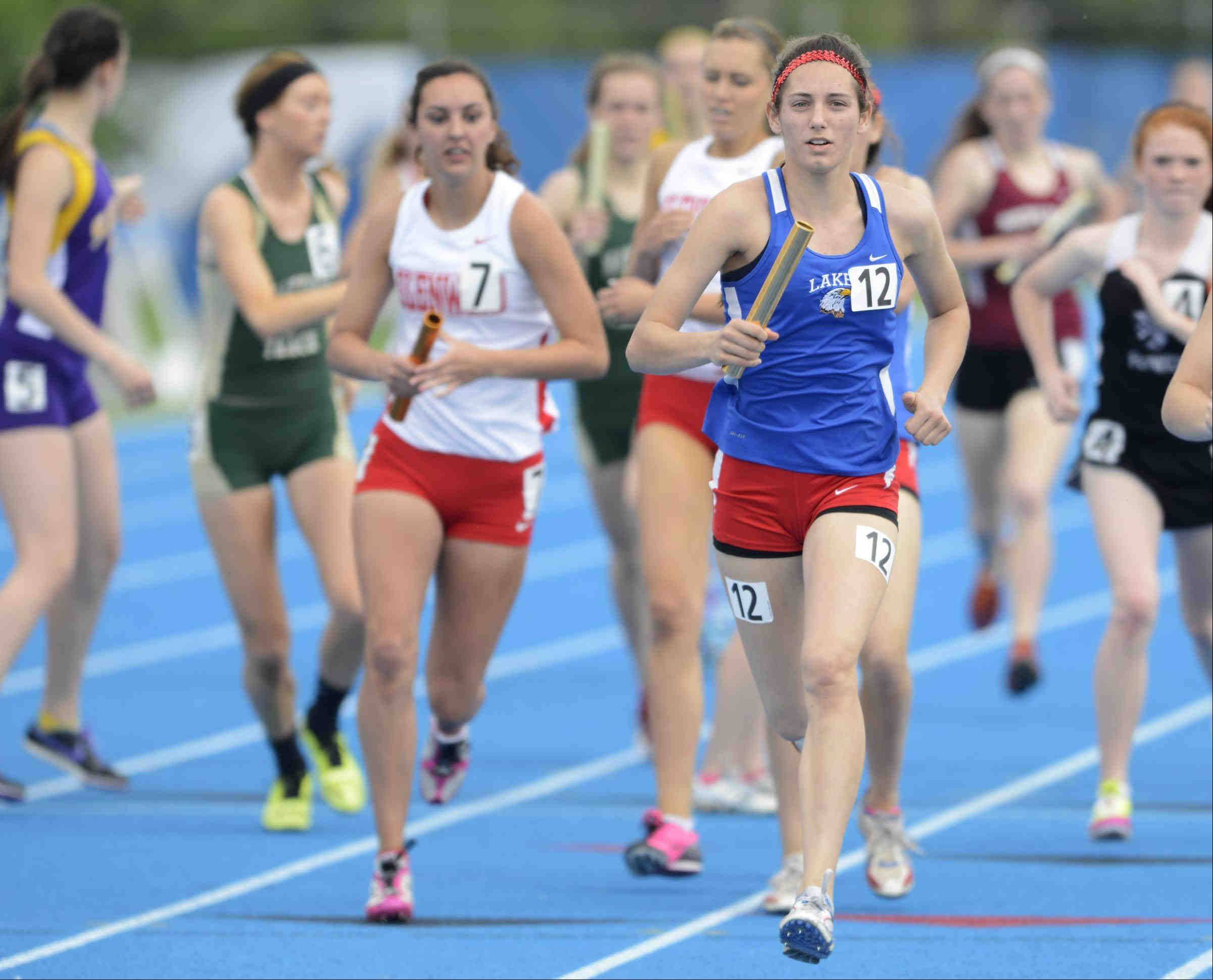 Lakes' Danielle Griesbaum takes the baton to a win on the anchor leg Saturday at the Class 2A 3,200 meter relay at the girls state track and field finals at O'Brien Stadium at Eastern Illinois University in Charleston.