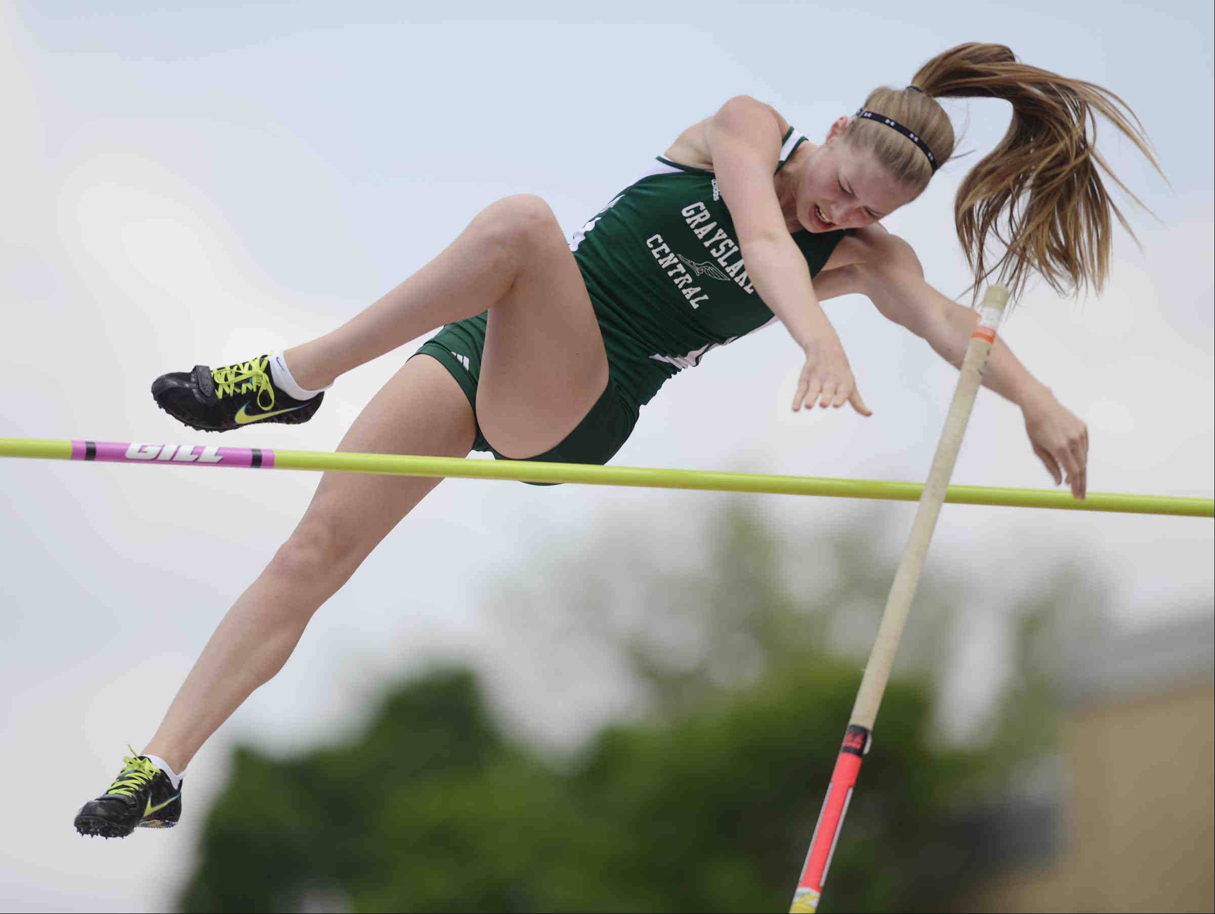 John Starks/jstarks@dailyherald.comGrayslake Central's Cara Engel placed eighth Saturday in the pole vault at the Class 2A girls state track and field finals at O'Brien Stadium at Eastern Illinois University in Charleston.