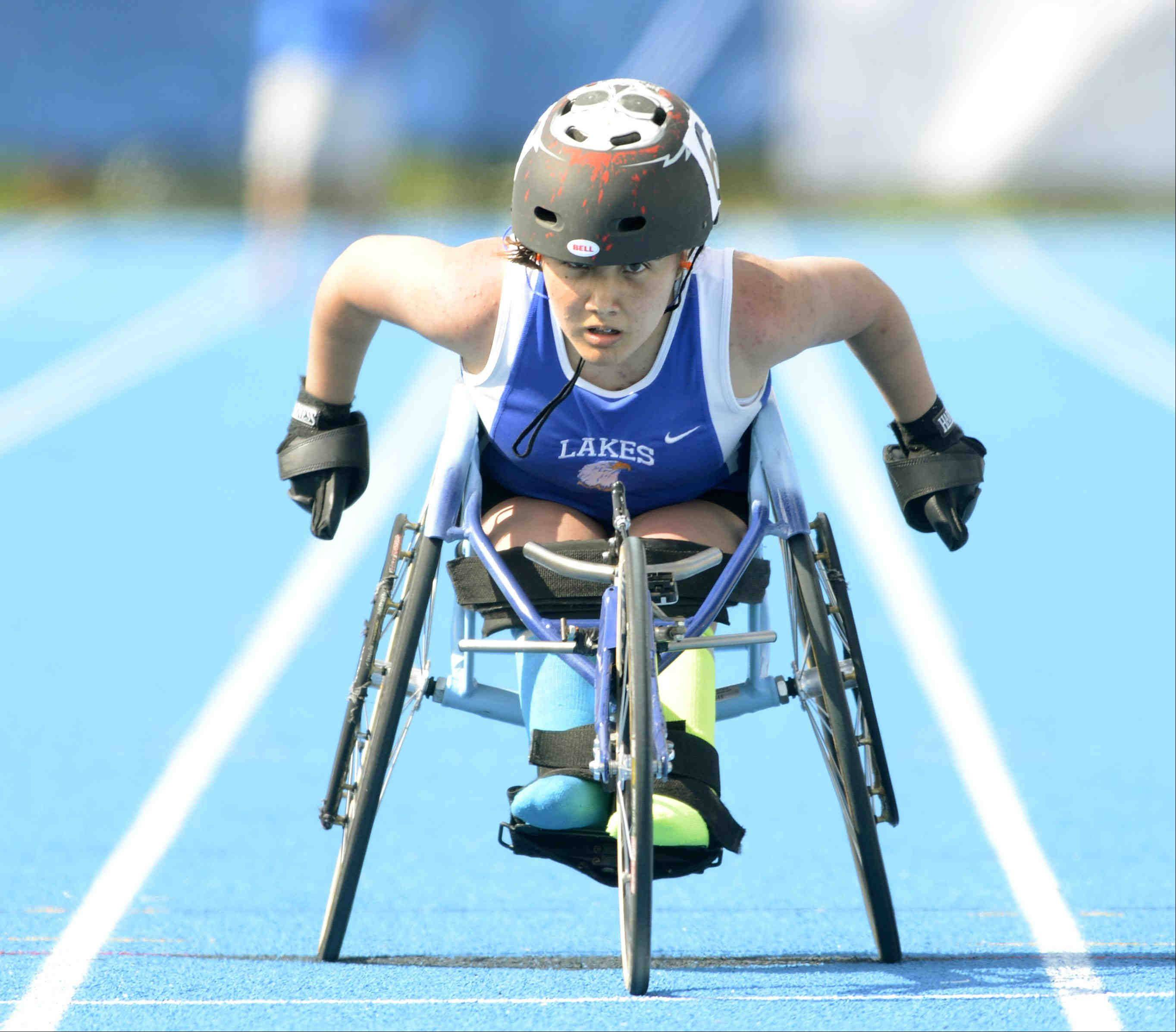 John Starks/jstarks@dailyherald.comLakes' Evelyn Felipez competed in the 100 and 200 meter wheelchair race Saturday at the girls state track and field finals at O'Brien Stadium at Eastern Illinois University in Charleston.