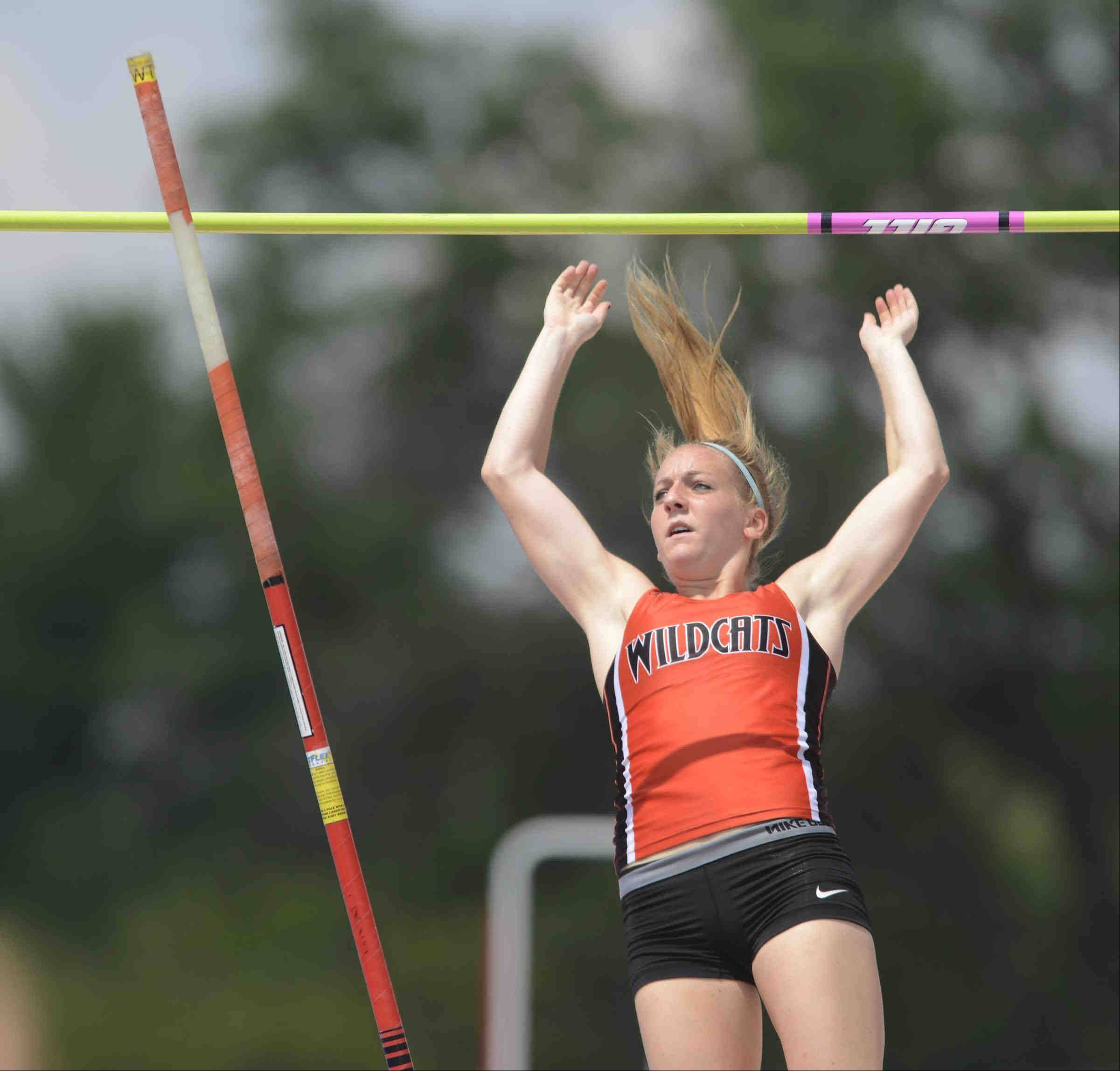 Libertyville's Nicole Jaffke watches the bar stay on the standards in the pole vault Saturday at the Class 3A girls track and field state finals in Charleston.