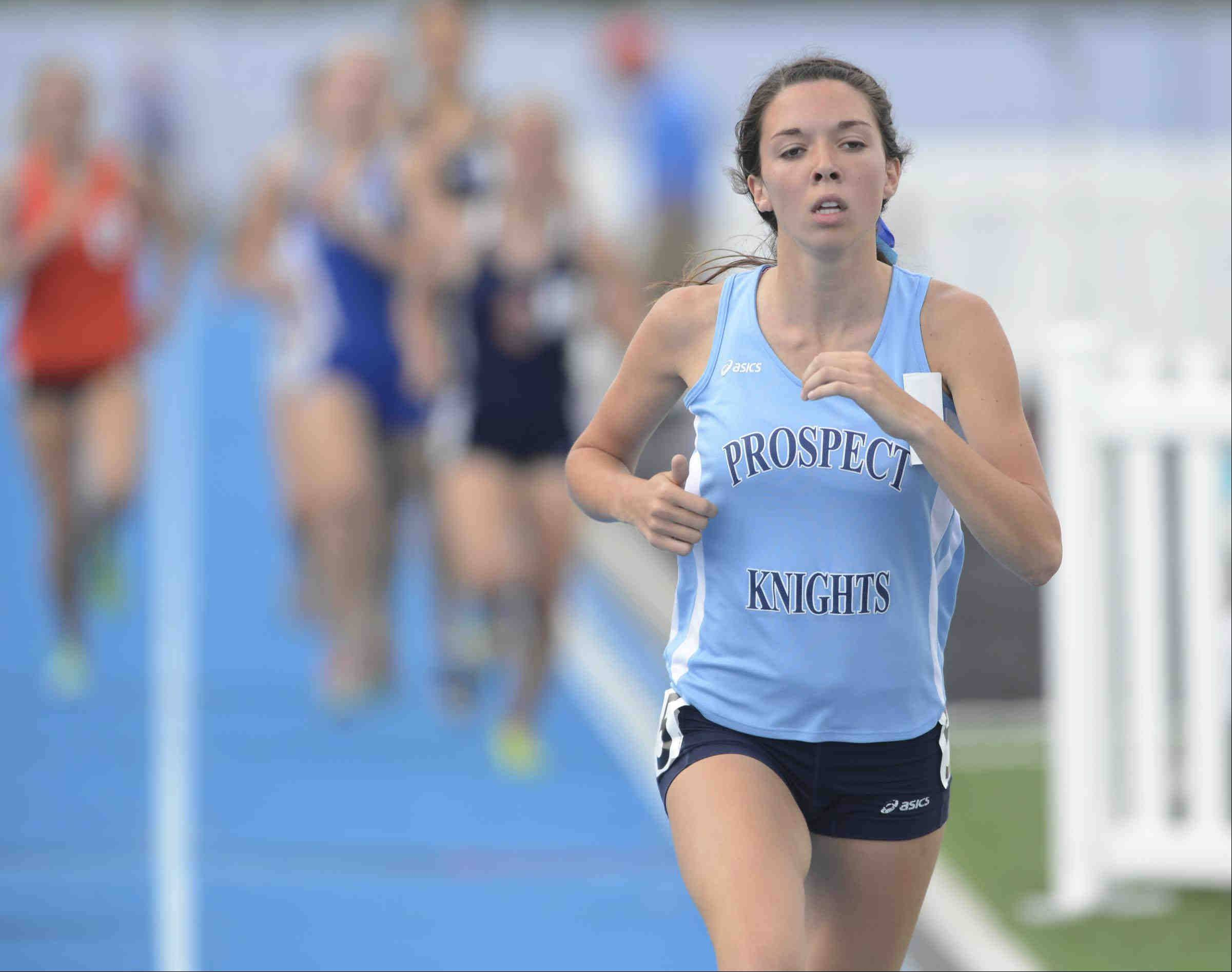 Prospect's Christina Santiago takes third in the 1,600-meter run in the Class 3A girls track and field state finals on Saturday in Charleston.