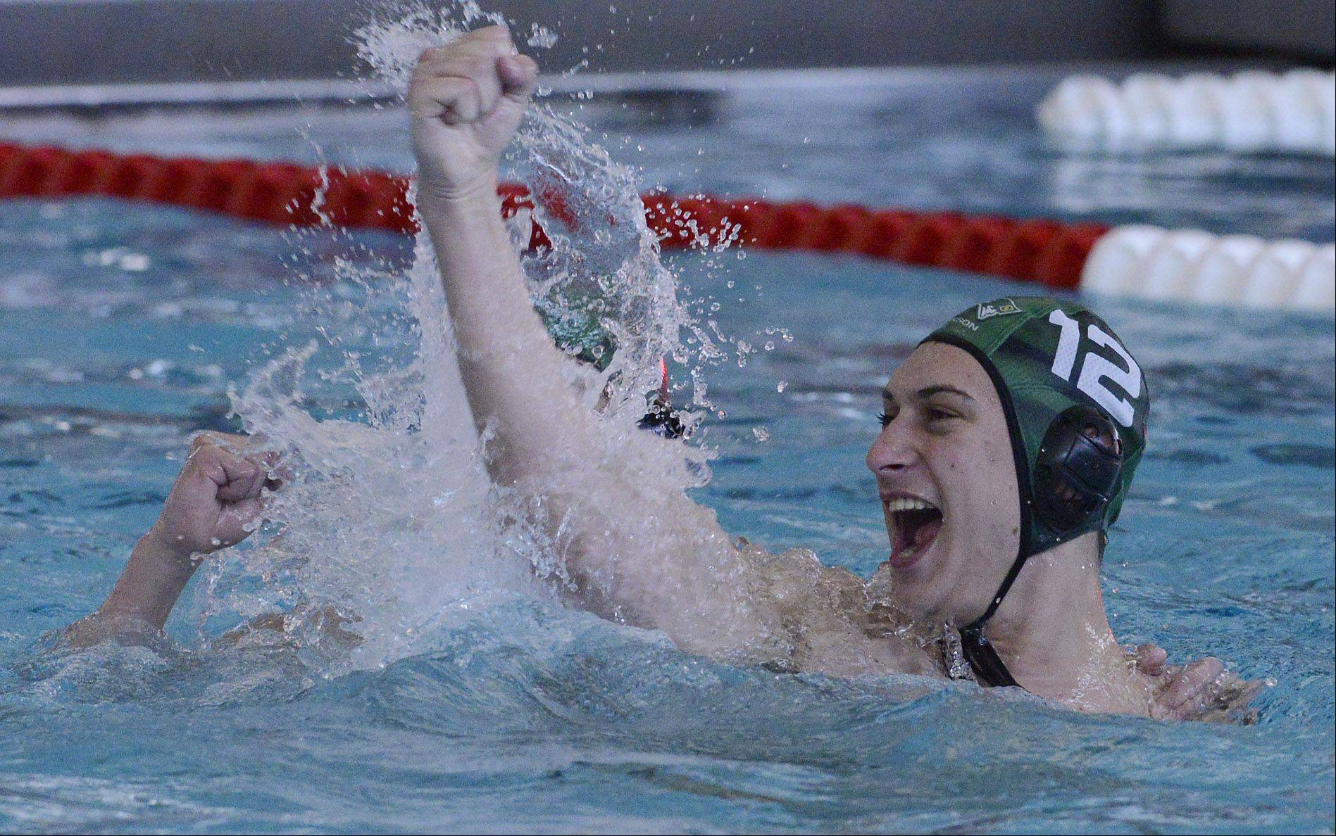 Stevenson's Mitchell Sokolsky celebrates with his team during the boys water polo state semifinals against St. Ignatius at Stevenson High School in Lincolnshire on Saturday.
