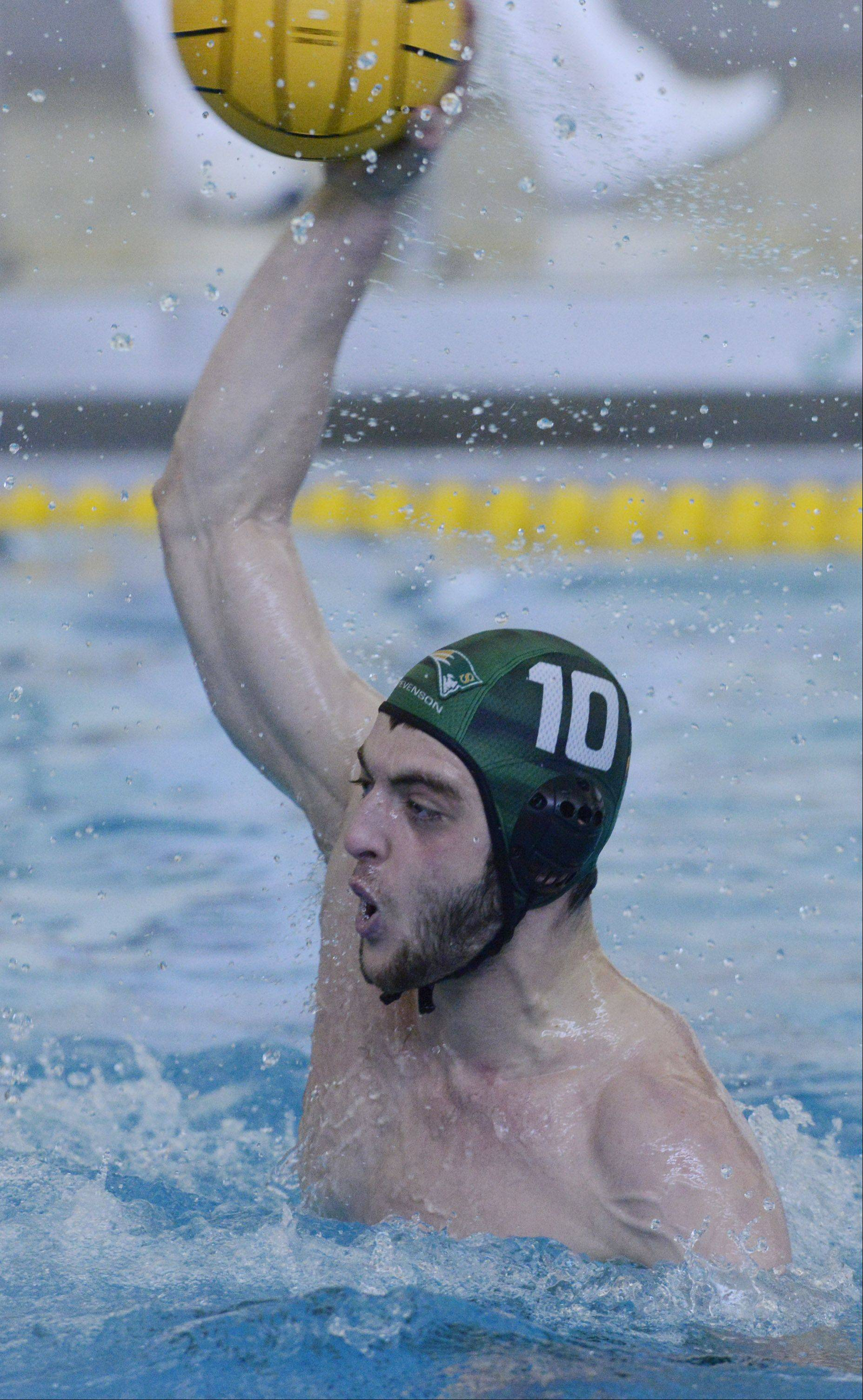 Stevenson's Remy Dalloul scores his second goal of the fourth quarter during the boys water polo state semifinals against St. Ignatius on Saturday.